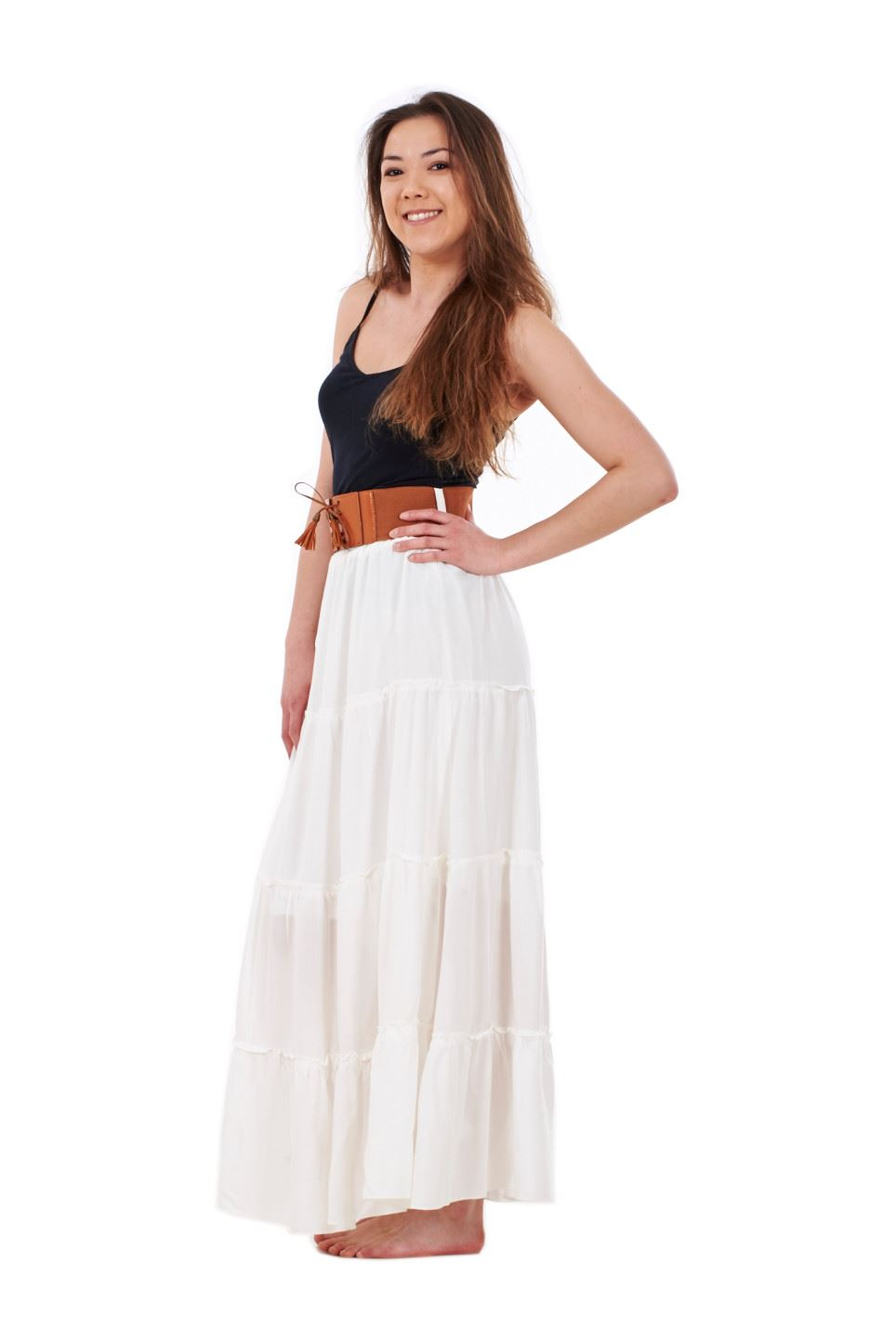 thumbnail 5 - New Ladies Skirt Elasticated Long Maxi High Waist Belted Casual Wear 8 to 14