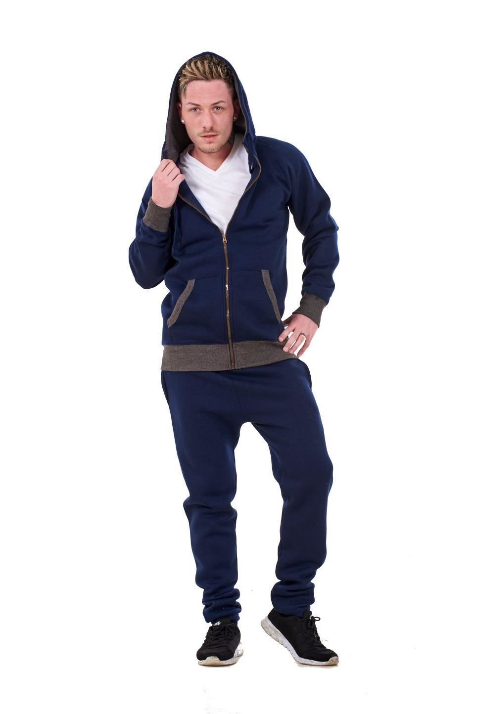 New-Mens-Tracksuit-Branded-Fleece-Hooded-Zipper-Cotton-Jogging-Bottoms-S-to-XXL thumbnail 14