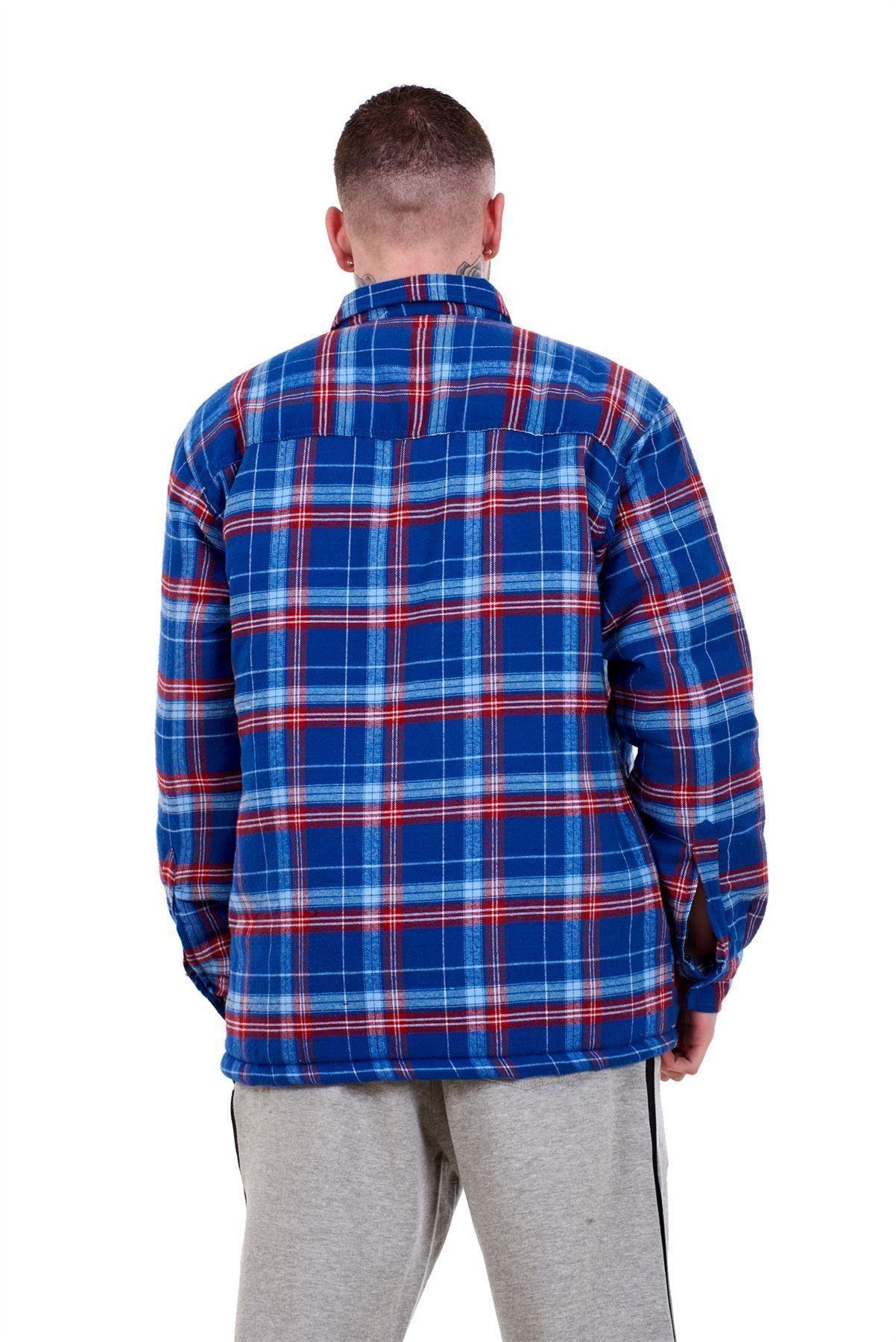 Flanella-Da-Uomo-Imbottito-Work-Shirt-Filato-Tinto-trapuntato-boscaiolo-Giacca-Regolare-amp-Big miniatura 12