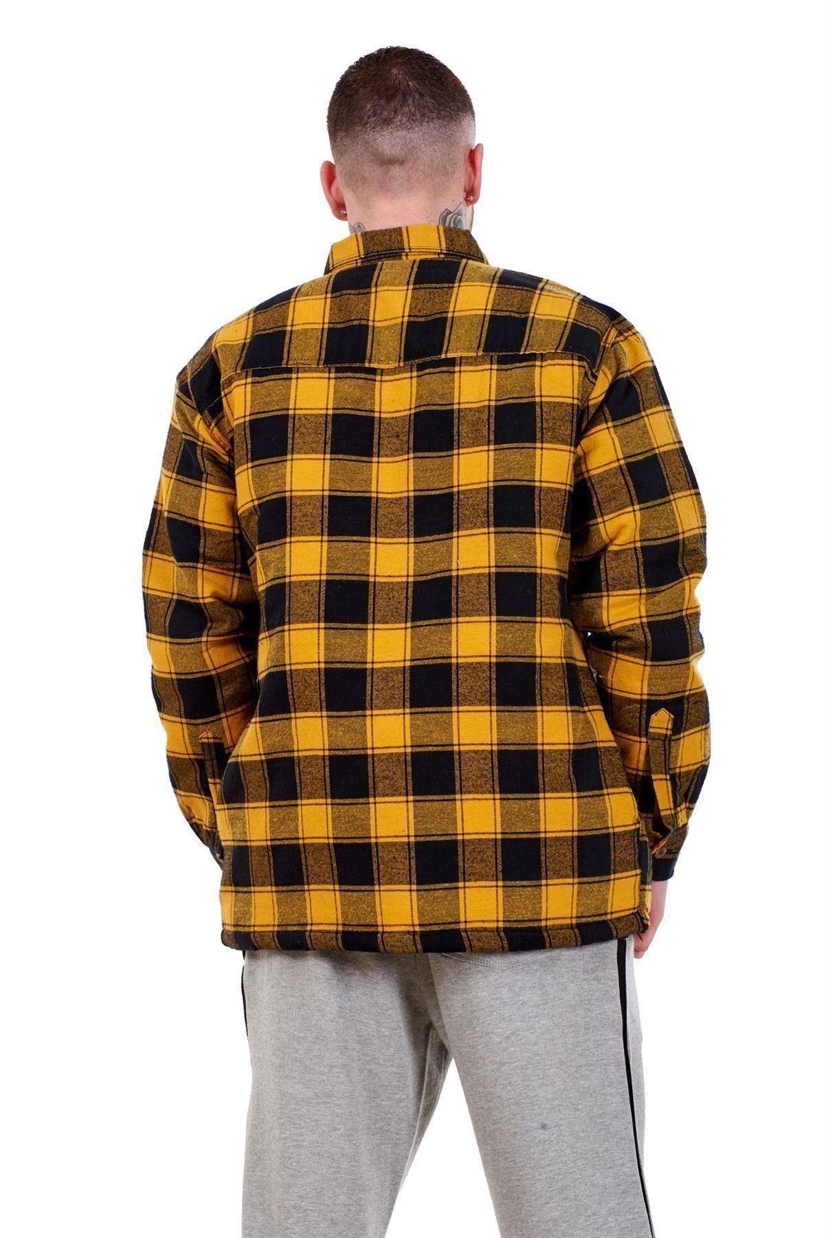 Flanella-Da-Uomo-Imbottito-Work-Shirt-Filato-Tinto-trapuntato-boscaiolo-Giacca-Regolare-amp-Big miniatura 9