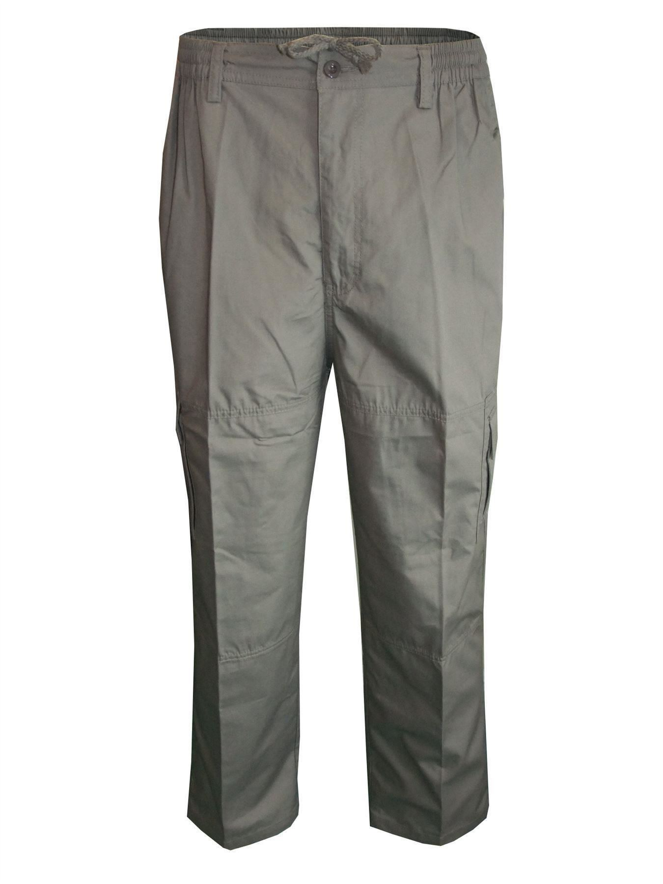Men-Straight-Trousers-Cargo-Combat-Cotton-Elasticated-Zip-Fly-Casual-Pants-M-3XL thumbnail 19