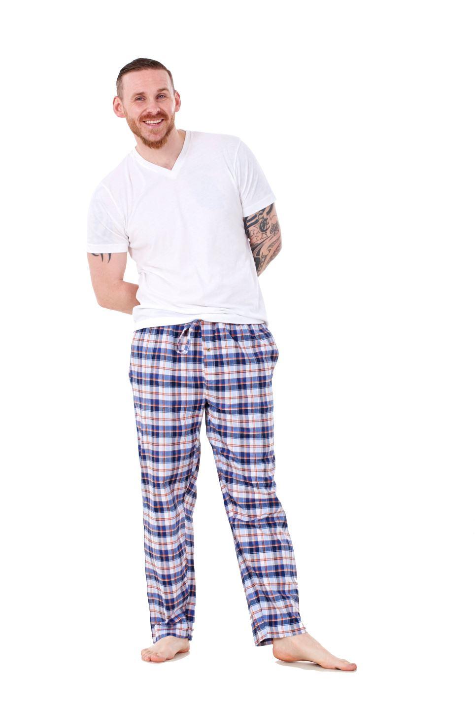 Mens-Pyjama-Bottoms-Rich-Cotton-Woven-Check-Lounge-Pant-Nightwear-Big-3XL-to-5XL Indexbild 16