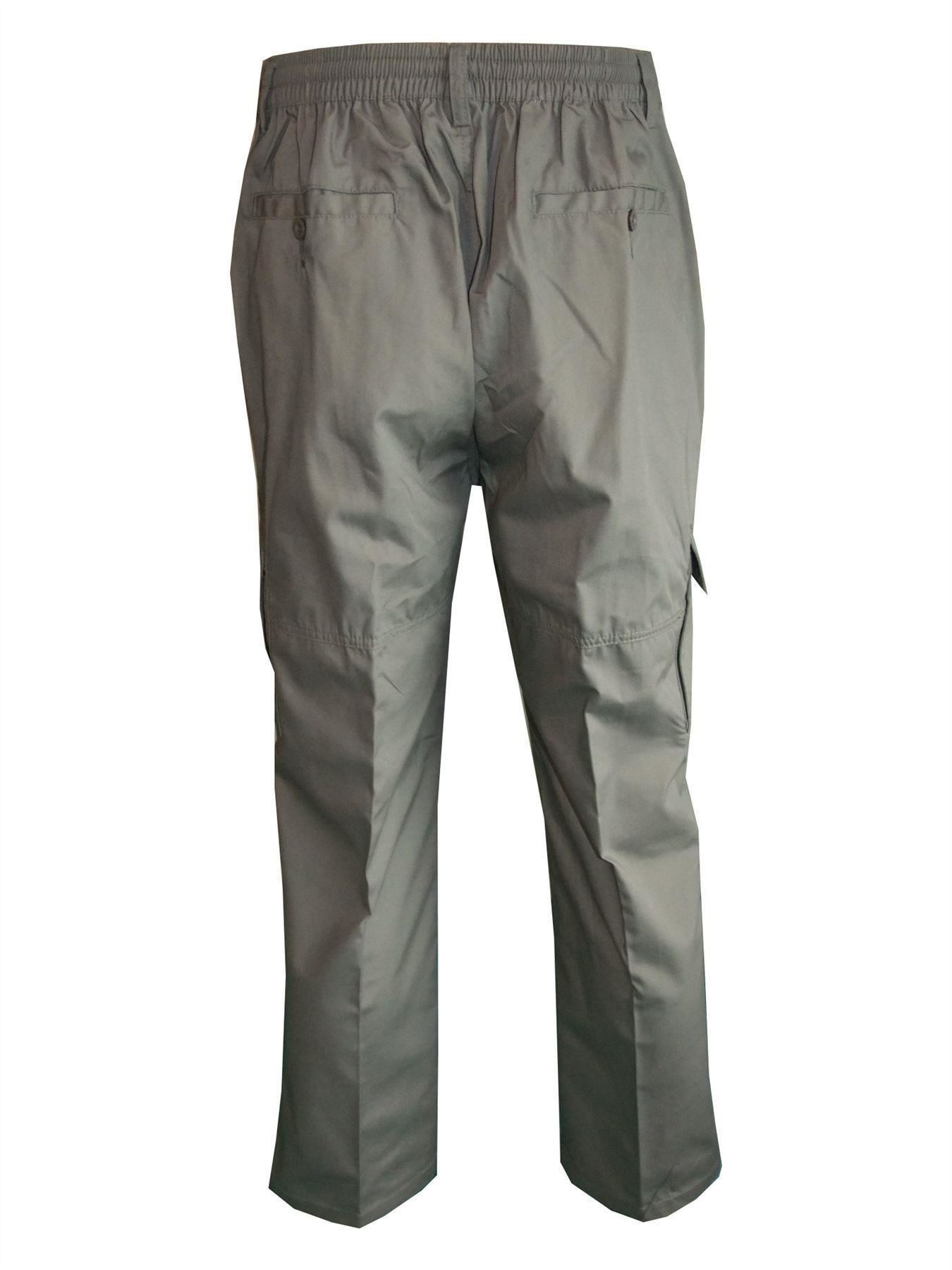 Men-Straight-Trousers-Cargo-Combat-Cotton-Elasticated-Zip-Fly-Casual-Pants-M-3XL thumbnail 18