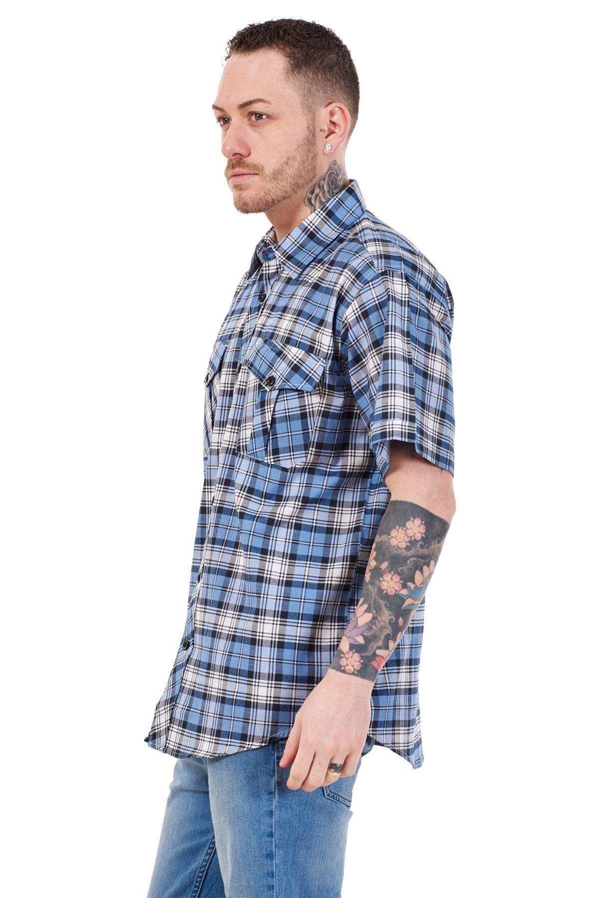 Mens-Regular-Big-Size-Shirts-Checked-Cotton-Blend-Casual-Short-Sleeve-Blue-M-5XL thumbnail 33