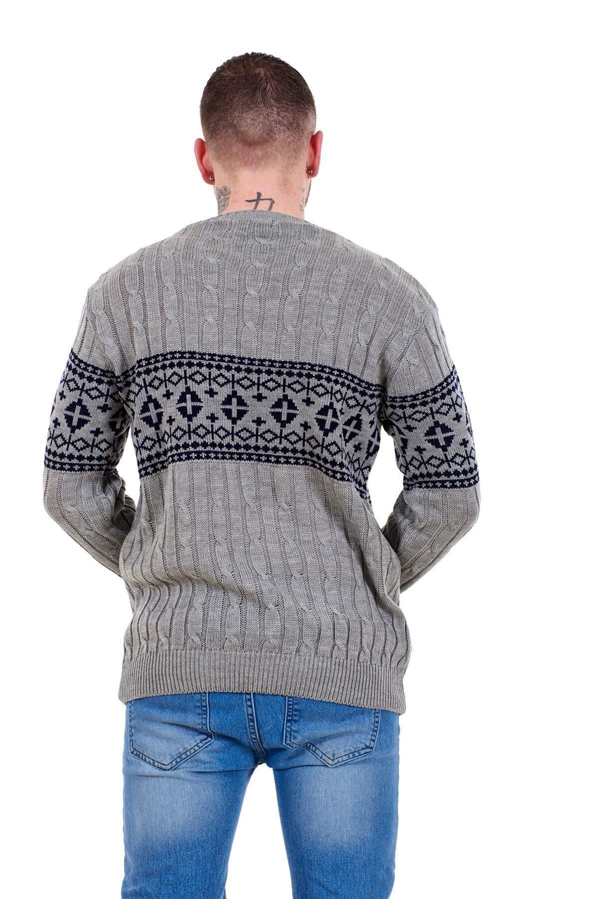 Mens-New-Cable-Knit-Jacquard-Long-Sleeve-Pullover-Jumper-Sweater-S-to-XL thumbnail 11