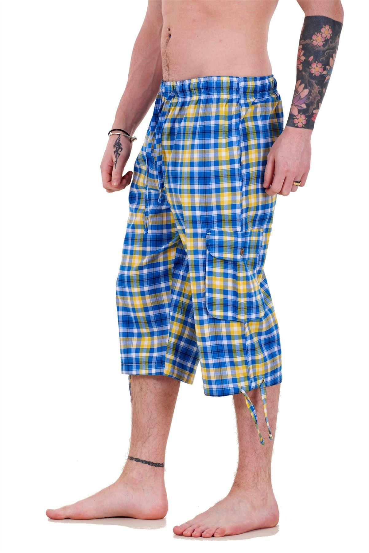 Mens-Check-Shorts-3-4-Length-by-Malay-Apparel-Cotton-Blend-Lounge-Casual-Wear thumbnail 14