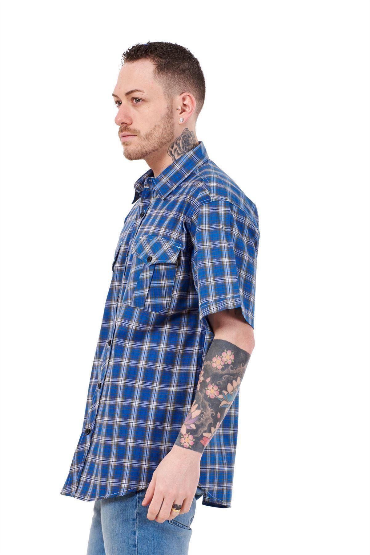 Mens-Regular-Big-Size-Shirts-Checked-Cotton-Blend-Casual-Short-Sleeve-Blue-M-5XL thumbnail 25