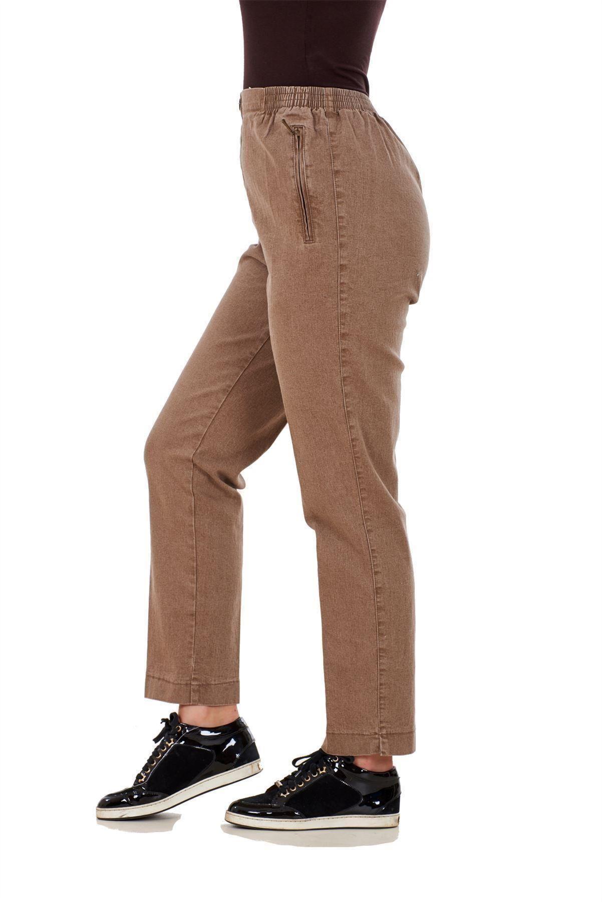 Ladies-Women-Trousers-Rayon-Cotton-Pockets-Elasticated-Stretch-Black-pants-8-24 thumbnail 3