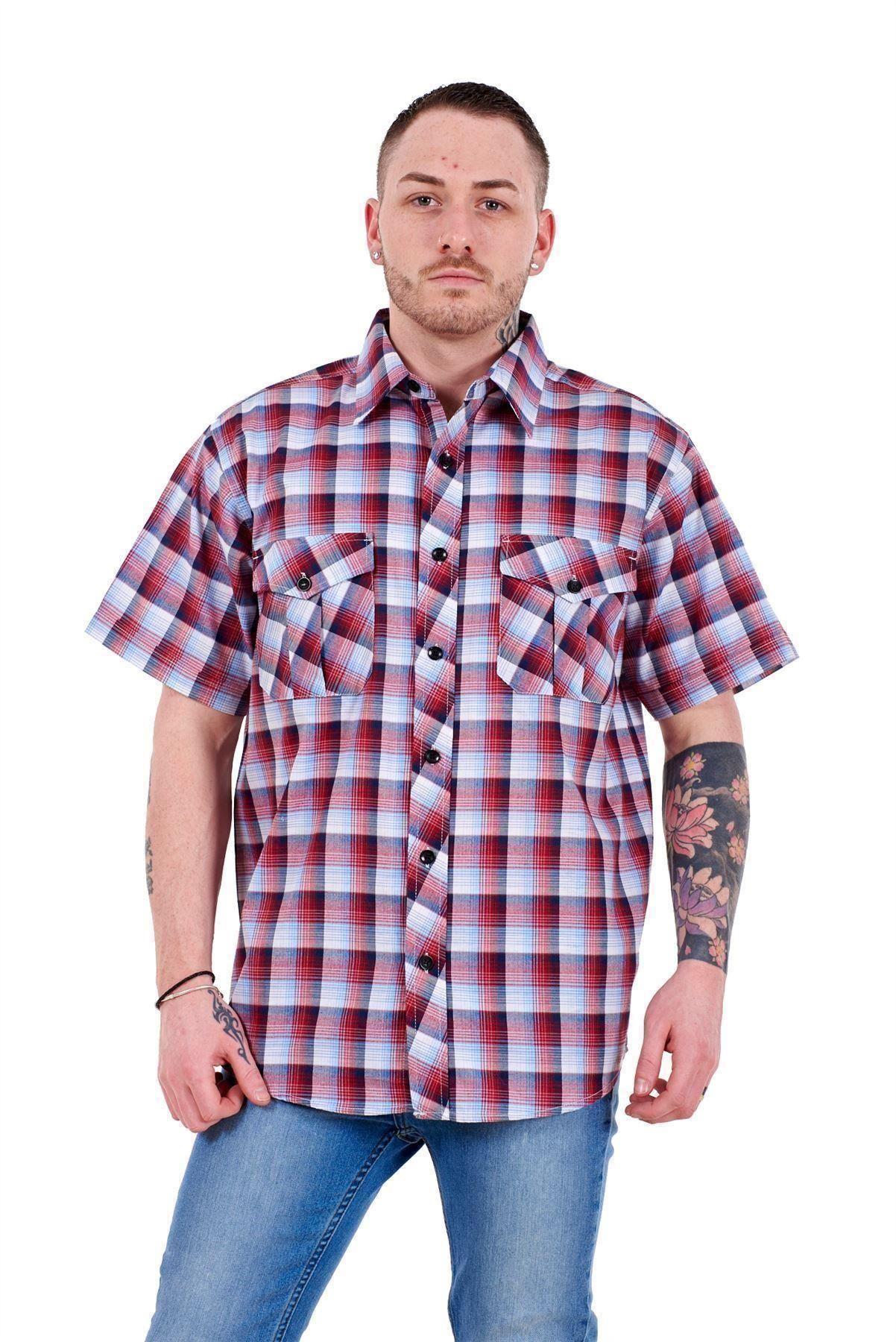 Mens-Regular-Big-Size-Shirts-Checked-Cotton-Blend-Casual-Short-Sleeve-M-to-5XL thumbnail 29
