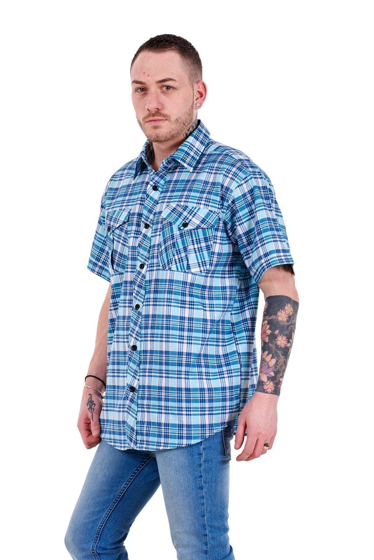 Mens-Regular-Big-Size-Shirts-Checked-Cotton-Blend-Casual-Short-Sleeve-M-to-5XL thumbnail 32