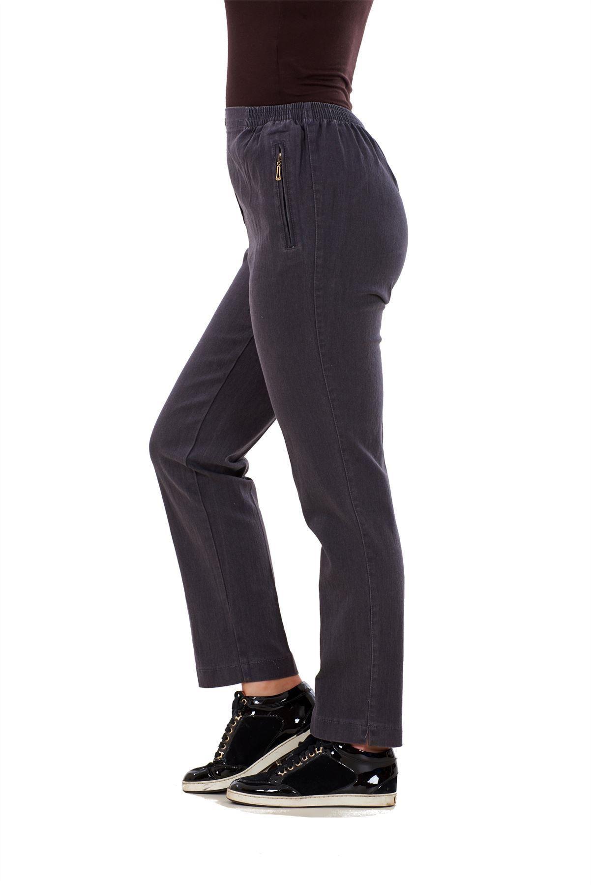 Ladies-Women-Trousers-Rayon-Cotton-Pockets-Elasticated-Stretch-Black-pants-8-24 thumbnail 10