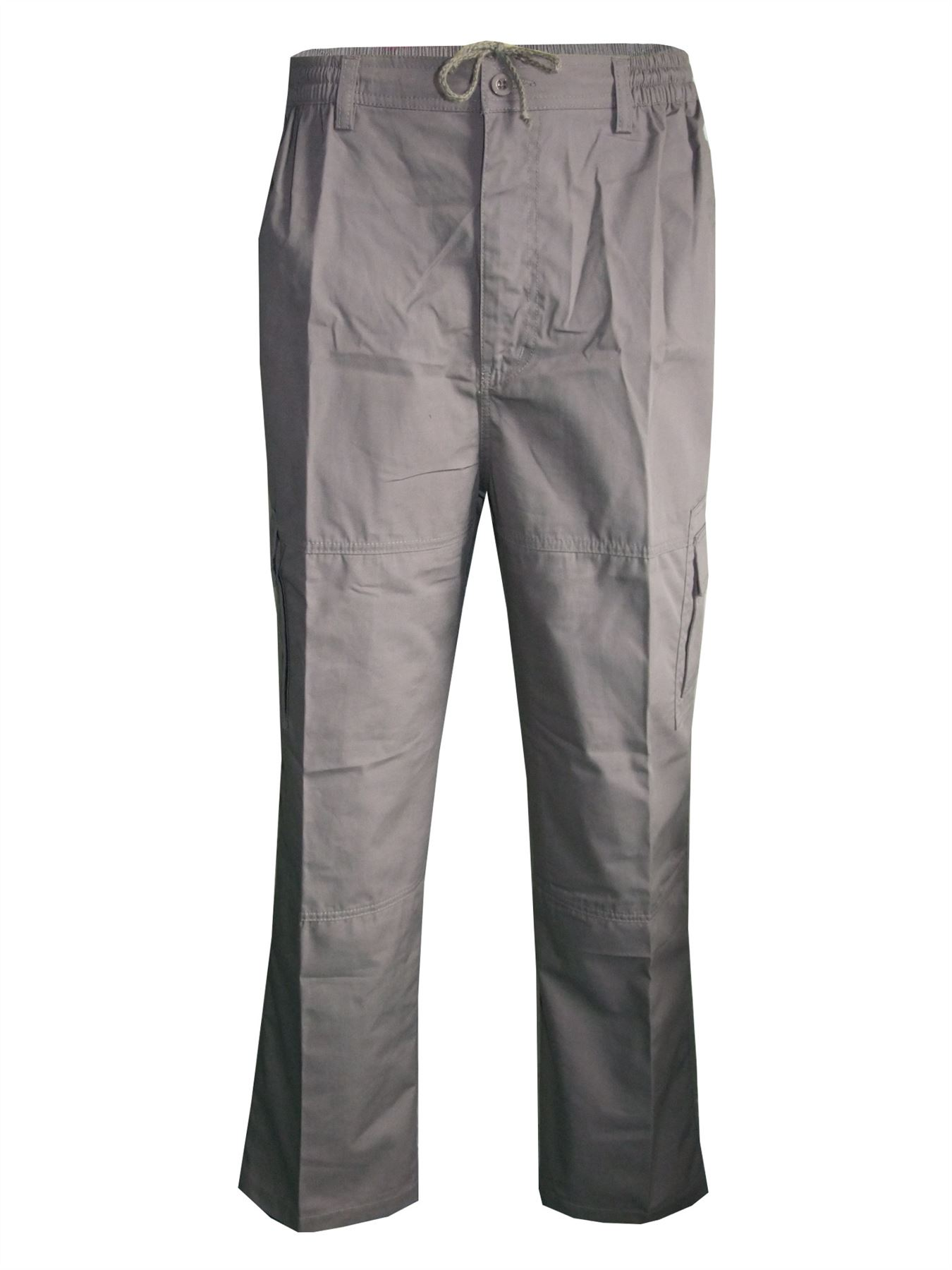 Men-Straight-Trousers-Cargo-Combat-Cotton-Elasticated-Zip-Fly-Casual-Pants-M-3XL thumbnail 13