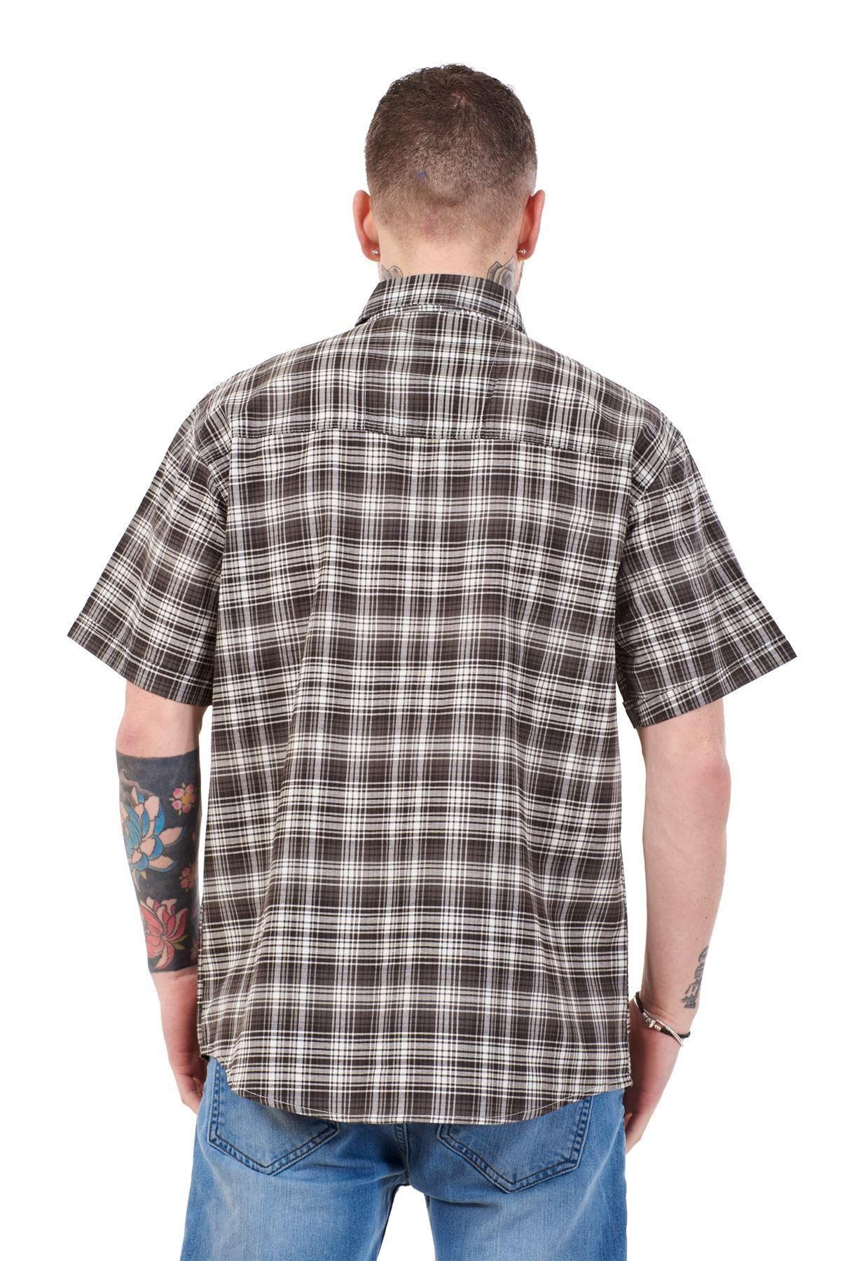 Mens-Regular-Big-Size-Shirts-Checked-Cotton-Blend-Casual-Short-Sleeve-Blue-M-5XL thumbnail 4