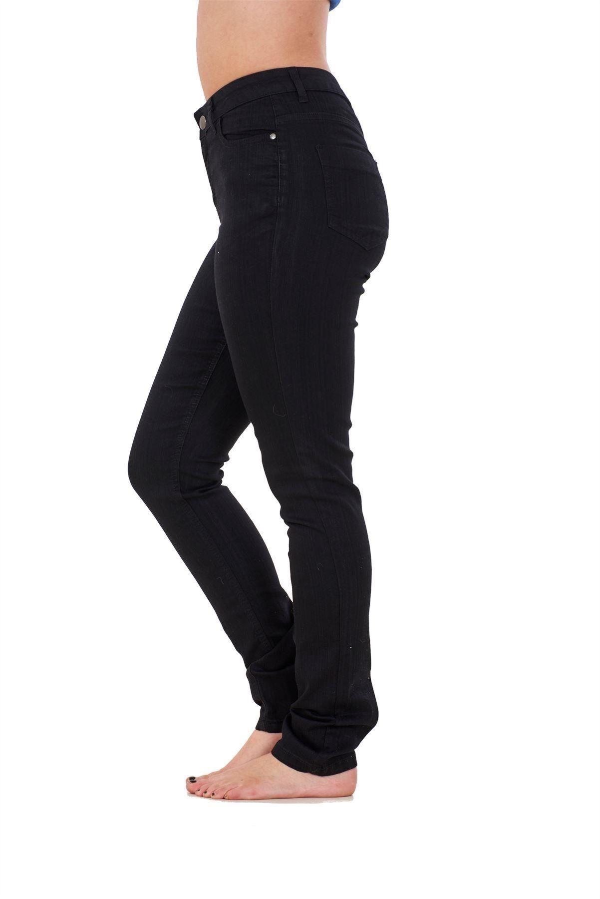 Ladies-Stretch-Jeans-Denim-cotton-Zip-fly-High-Waisted-Slim-Fit-Trousers-Pants thumbnail 3