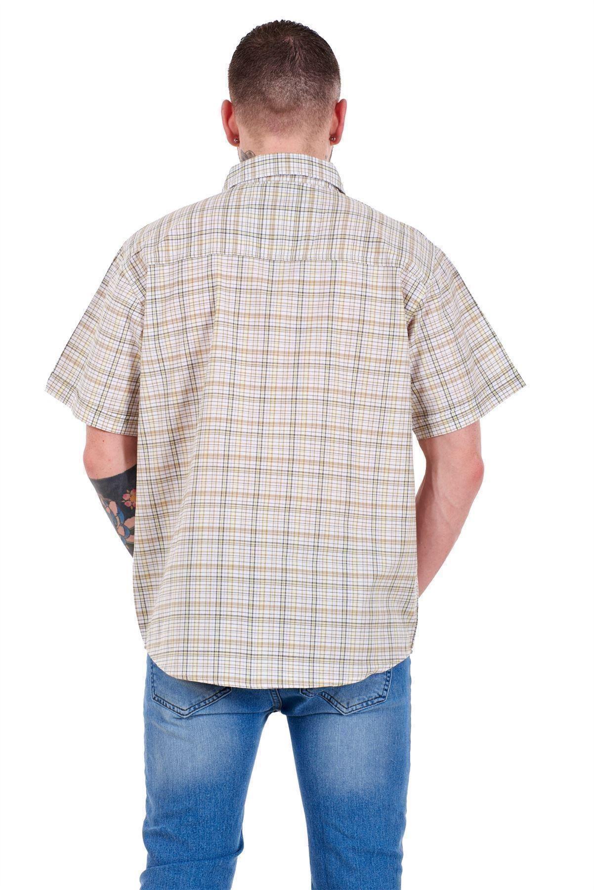 Mens-Regular-Big-Size-Shirts-Checked-Cotton-Blend-Casual-Short-Sleeve-M-to-5XL thumbnail 8