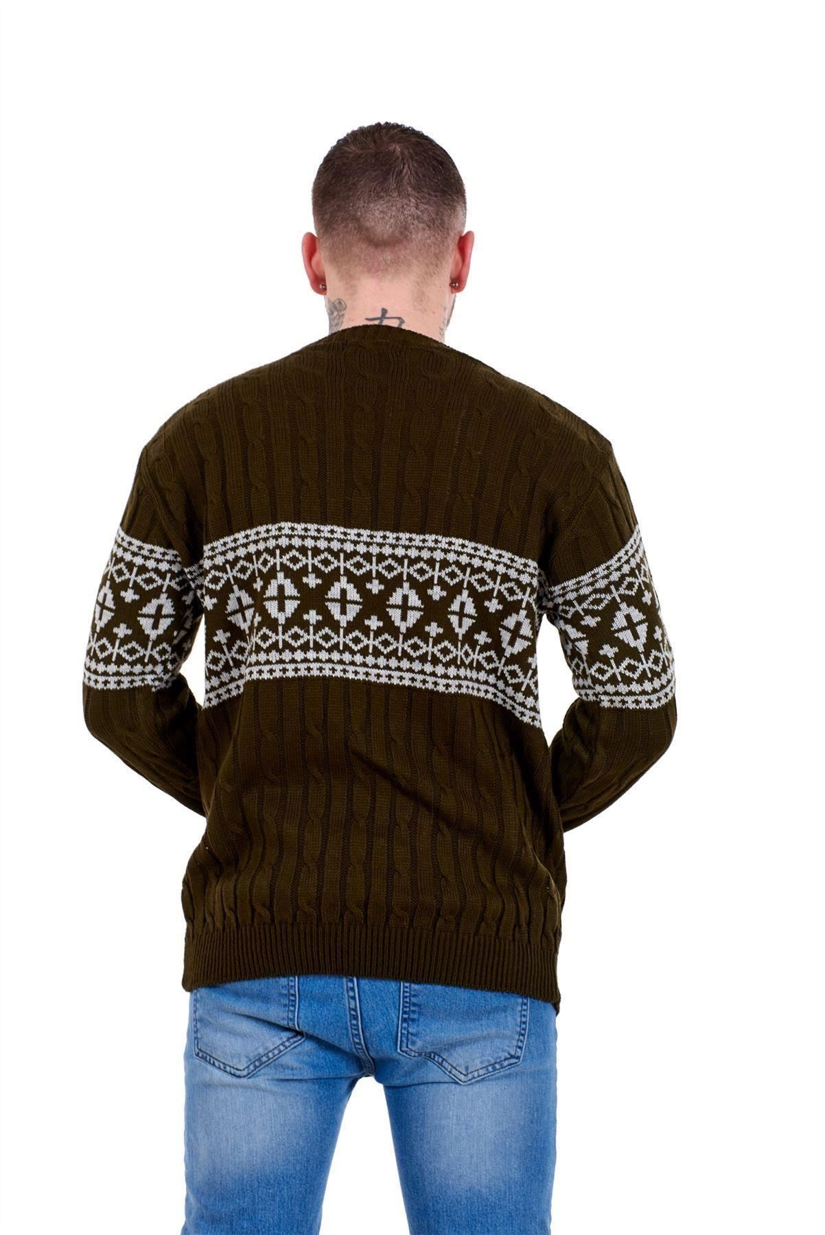 Mens-New-Cable-Knit-Jacquard-Long-Sleeve-Pullover-Jumper-Sweater-S-to-XL thumbnail 15