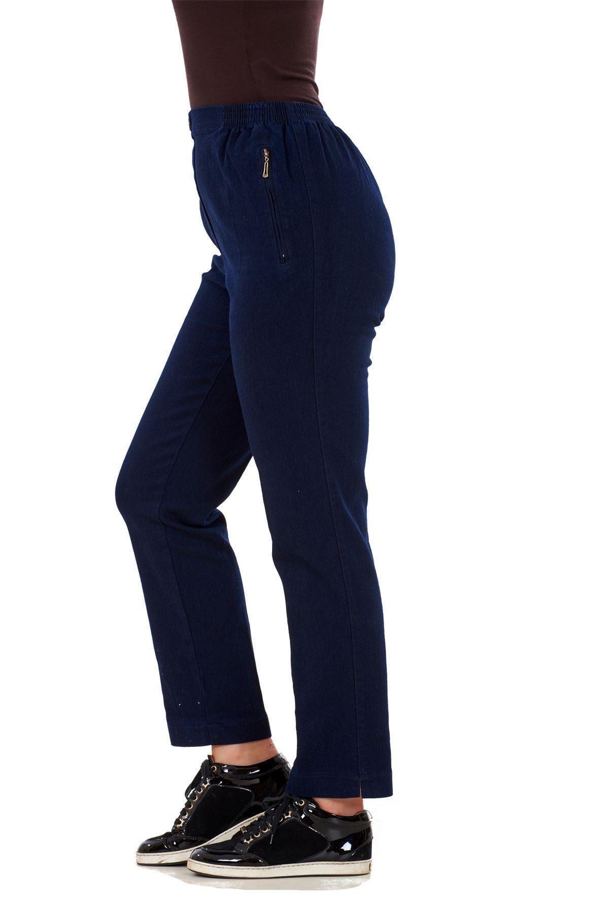 Ladies-Women-Trousers-Rayon-Cotton-Pockets-Elasticated-Stretch-Black-pants-8-24 thumbnail 12
