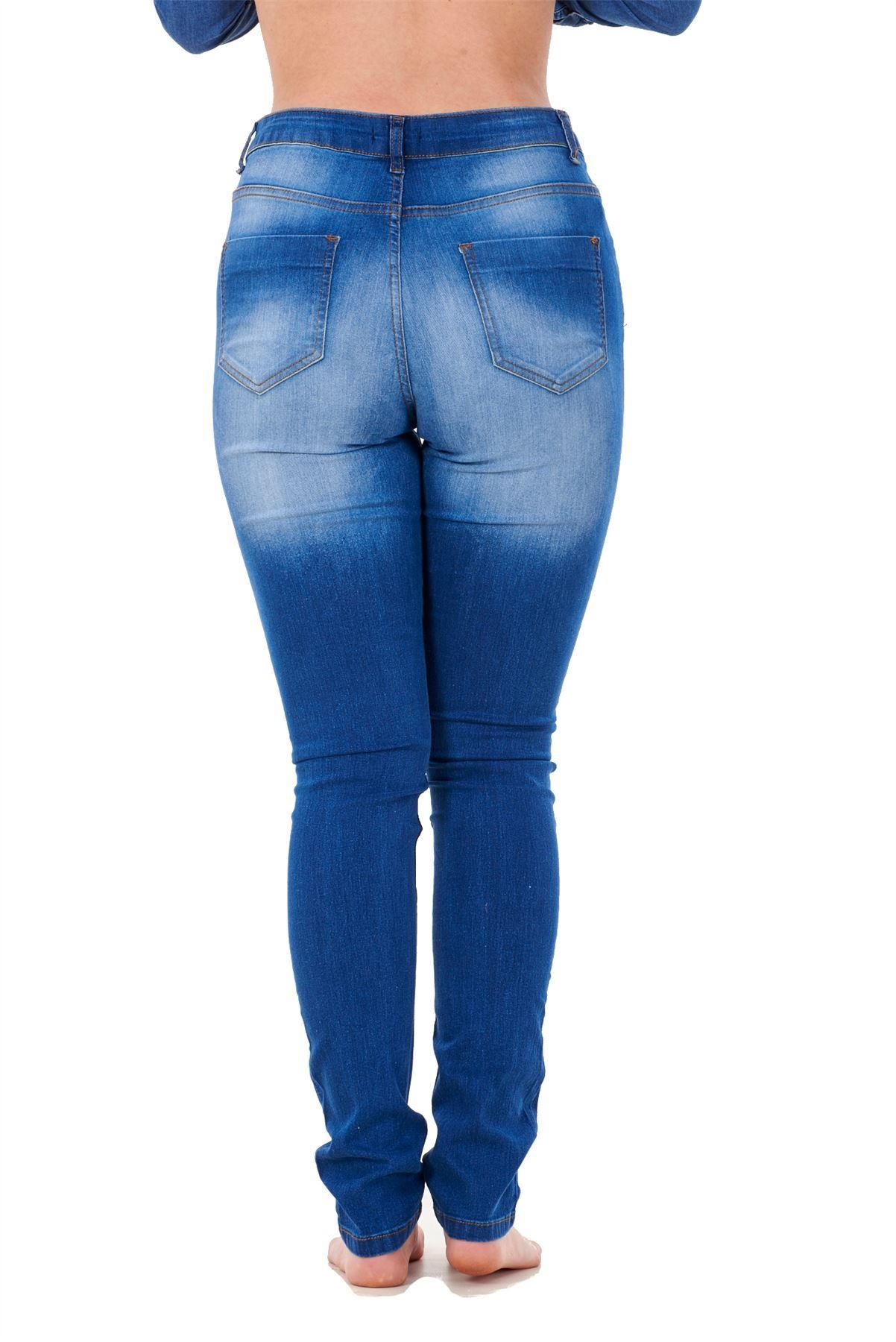 Ladies-Stretch-Jeans-Denim-cotton-Zip-fly-High-Waisted-Slim-Fit-Trousers-Pants thumbnail 9