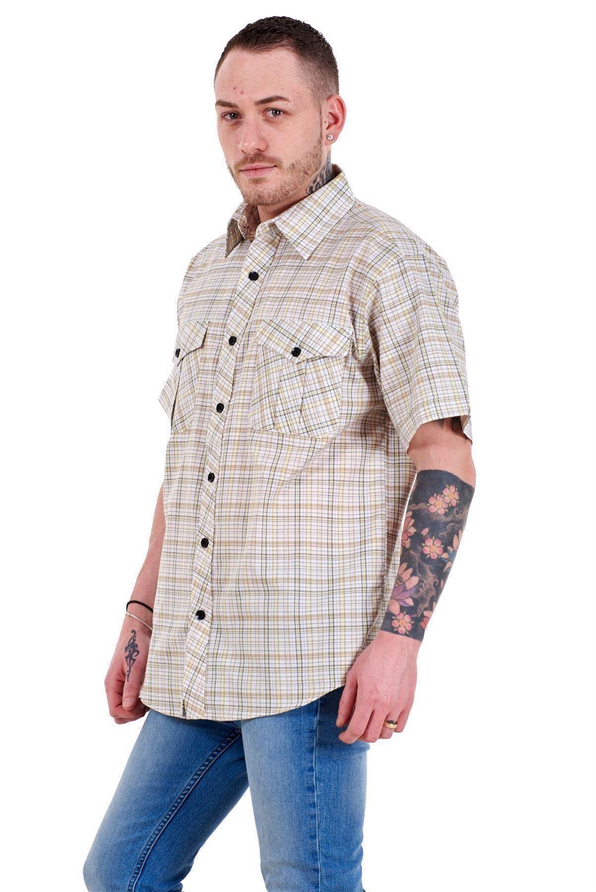Mens-Regular-Big-Size-Shirts-Checked-Cotton-Blend-Casual-Short-Sleeve-M-to-5XL thumbnail 7