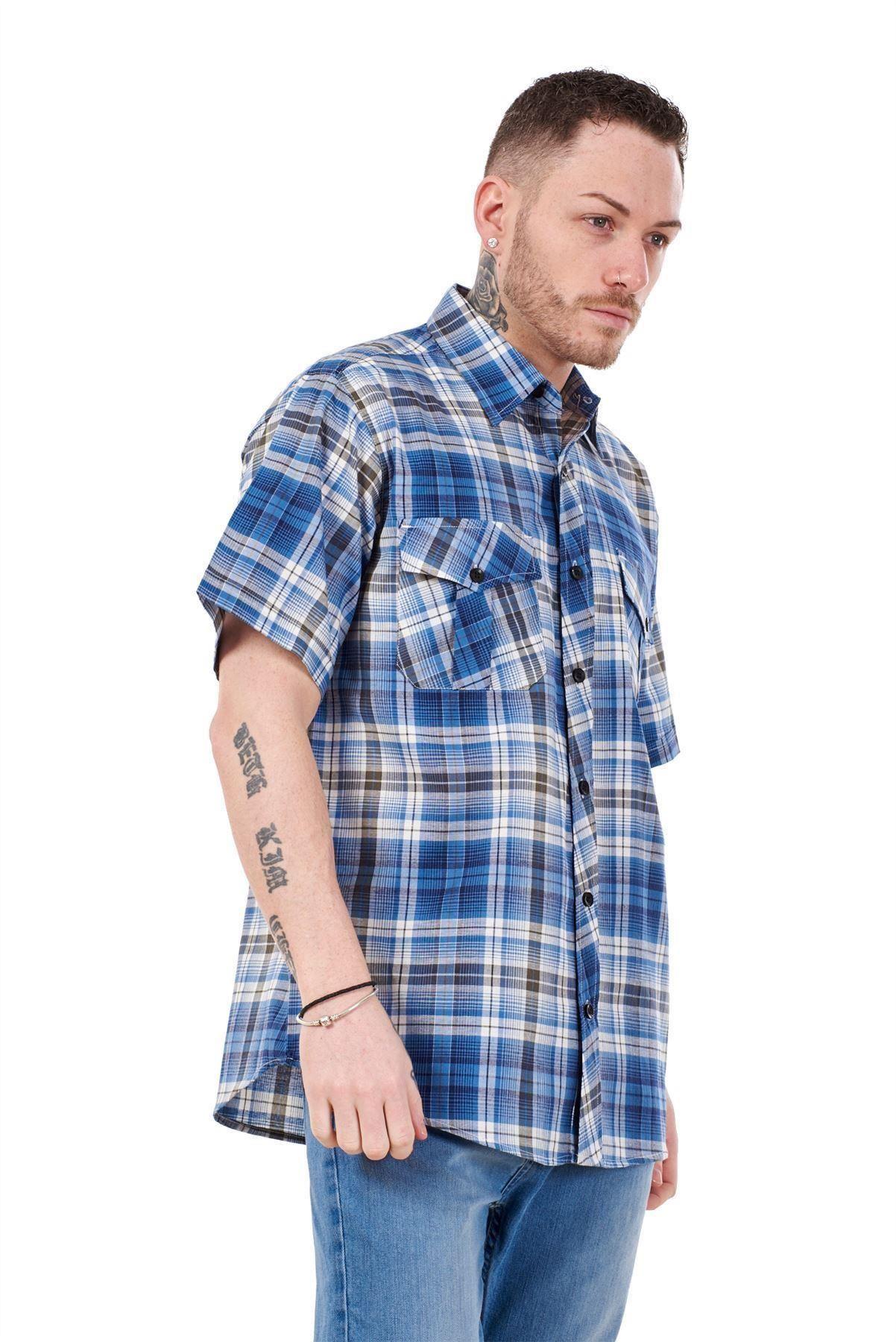 Mens-Regular-Big-Size-Shirts-Checked-Cotton-Blend-Casual-Short-Sleeve-Blue-M-5XL thumbnail 8