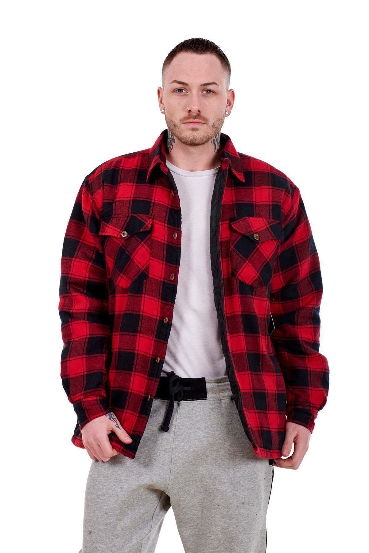 Flanella-Da-Uomo-Imbottito-Work-Shirt-Filato-Tinto-trapuntato-boscaiolo-Giacca-Regolare-amp-Big miniatura 15