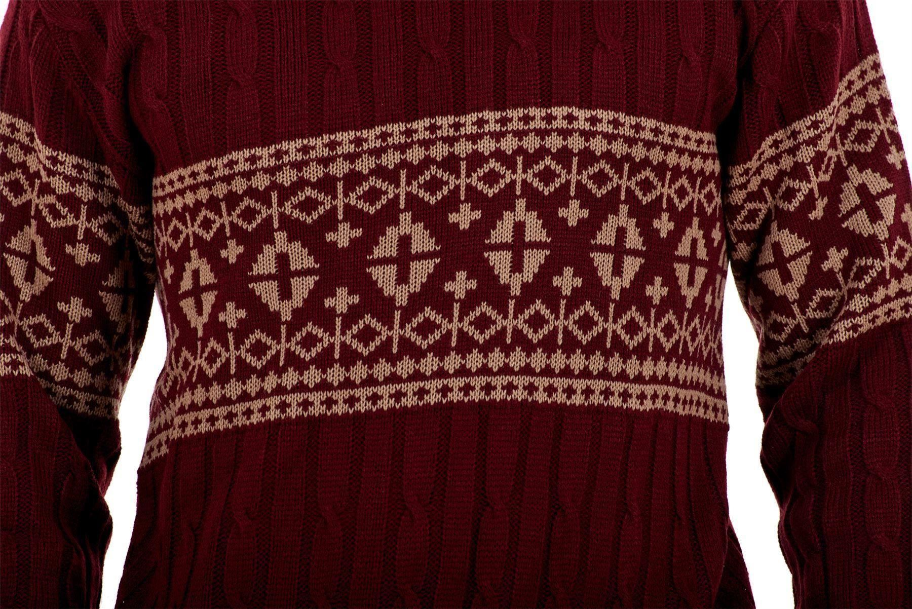 Mens-New-Cable-Knit-Jacquard-Long-Sleeve-Pullover-Jumper-Sweater-S-to-XL thumbnail 23