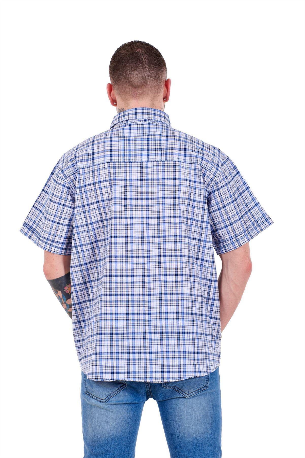 Mens-Regular-Big-Size-Shirts-Checked-Cotton-Blend-Casual-Short-Sleeve-M-to-5XL thumbnail 5