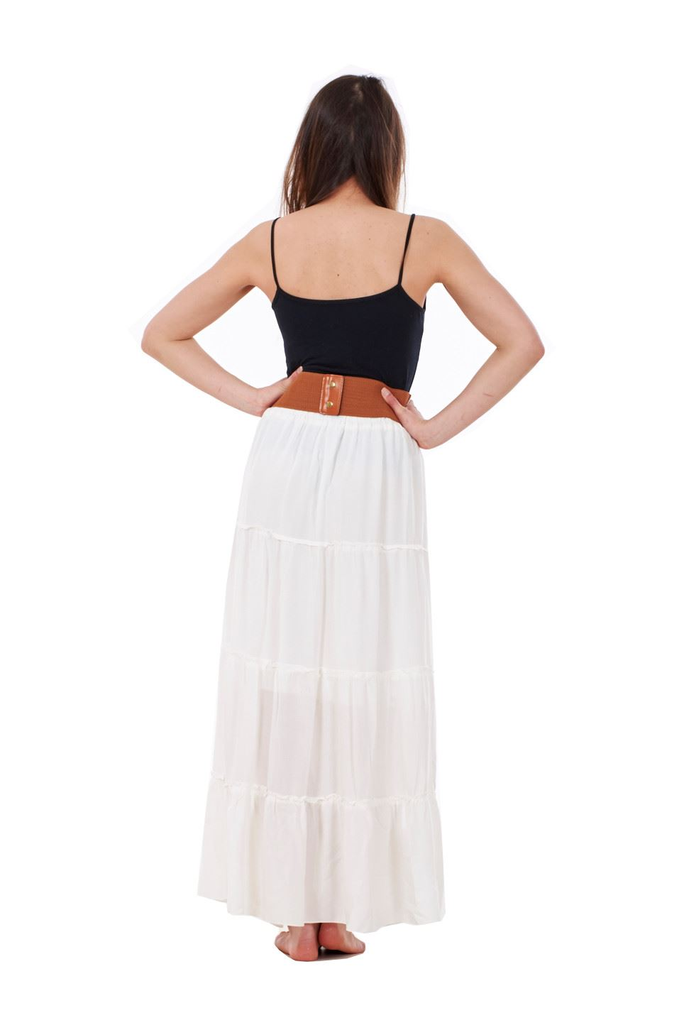 thumbnail 4 - New Ladies Skirt Elasticated Long Maxi High Waist Belted Casual Wear 8 to 14