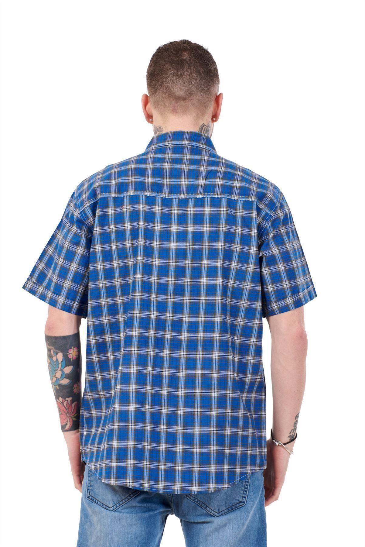 Mens-Regular-Big-Size-Shirts-Checked-Cotton-Blend-Casual-Short-Sleeve-Blue-M-5XL thumbnail 23