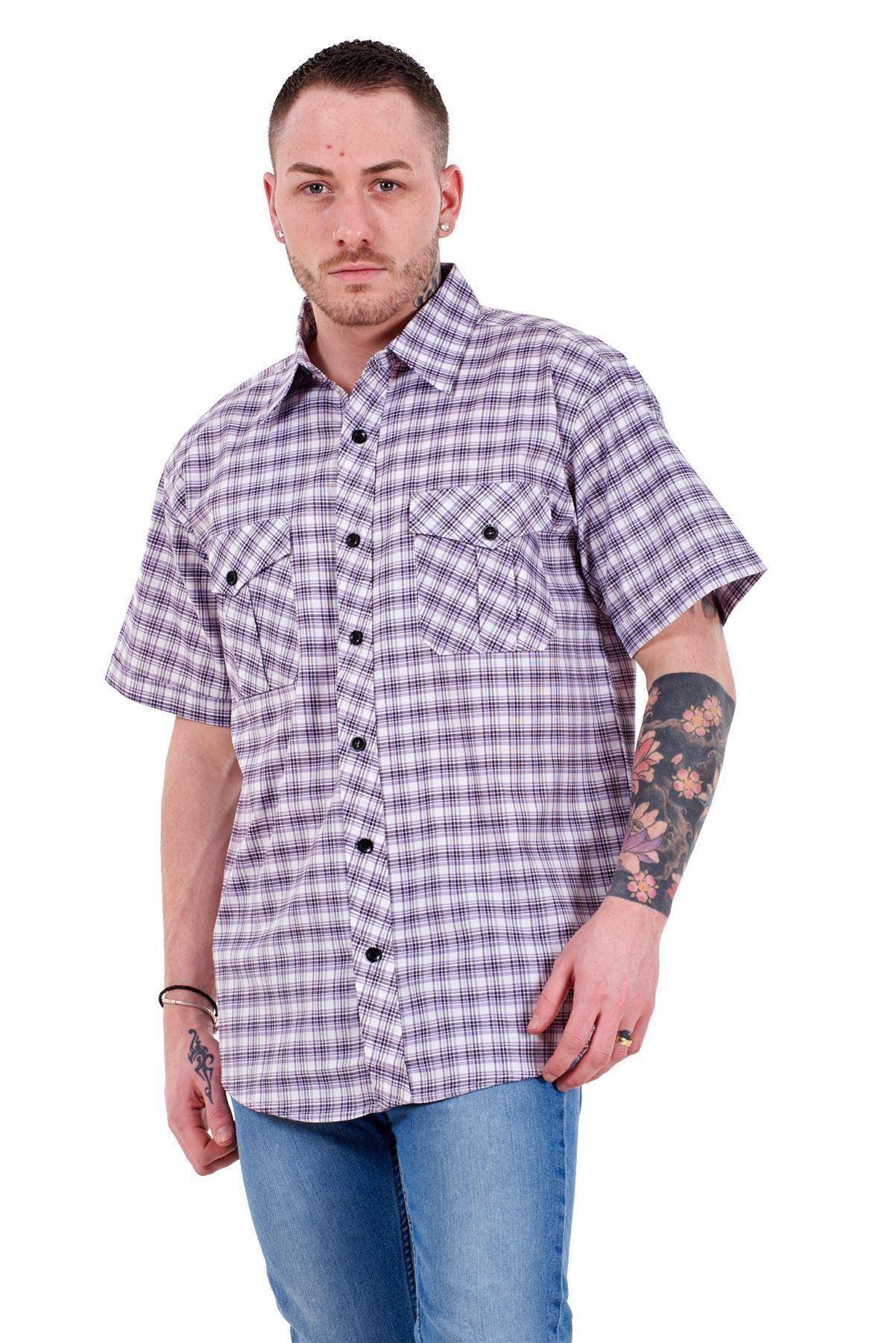 Mens-Regular-Big-Size-Shirts-Checked-Cotton-Blend-Casual-Short-Sleeve-M-to-5XL thumbnail 24