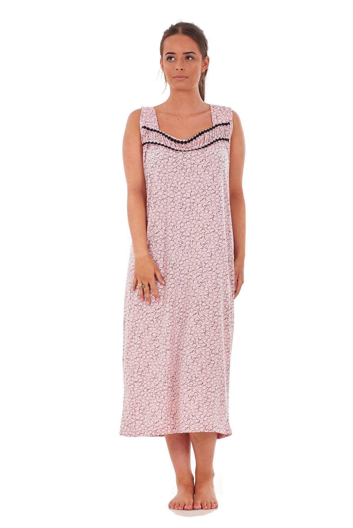 ... Bay eCom UK Ladies Nightwear Floral Print 100% Cotton Sleeveless Long  Nightdress M to XXXL  Plus Ladies Women ... 05895e6ce