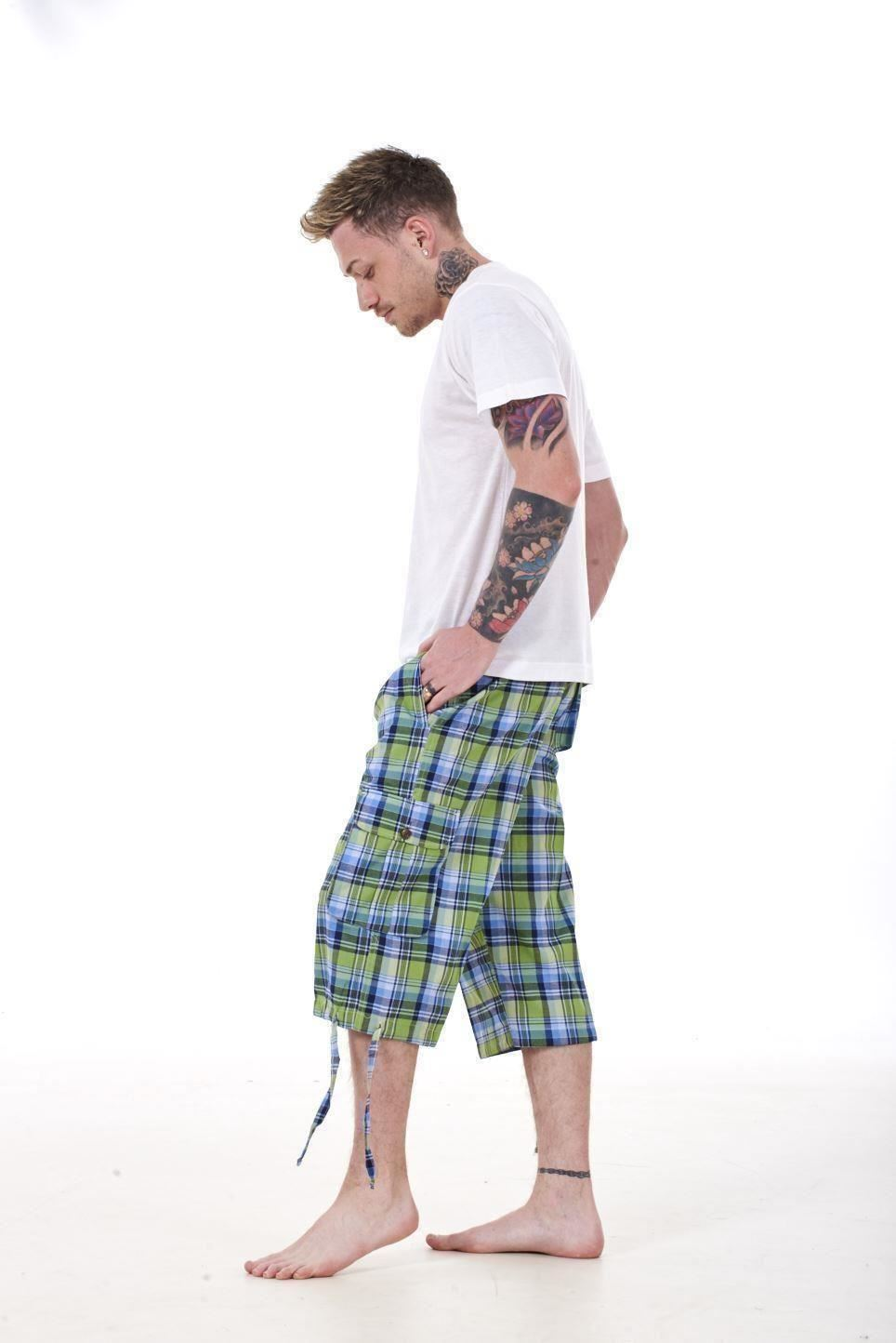 Mens-Check-Shorts-3-4-Length-by-Malay-Apparel-Cotton-Blend-Lounge-Casual-Wear thumbnail 25
