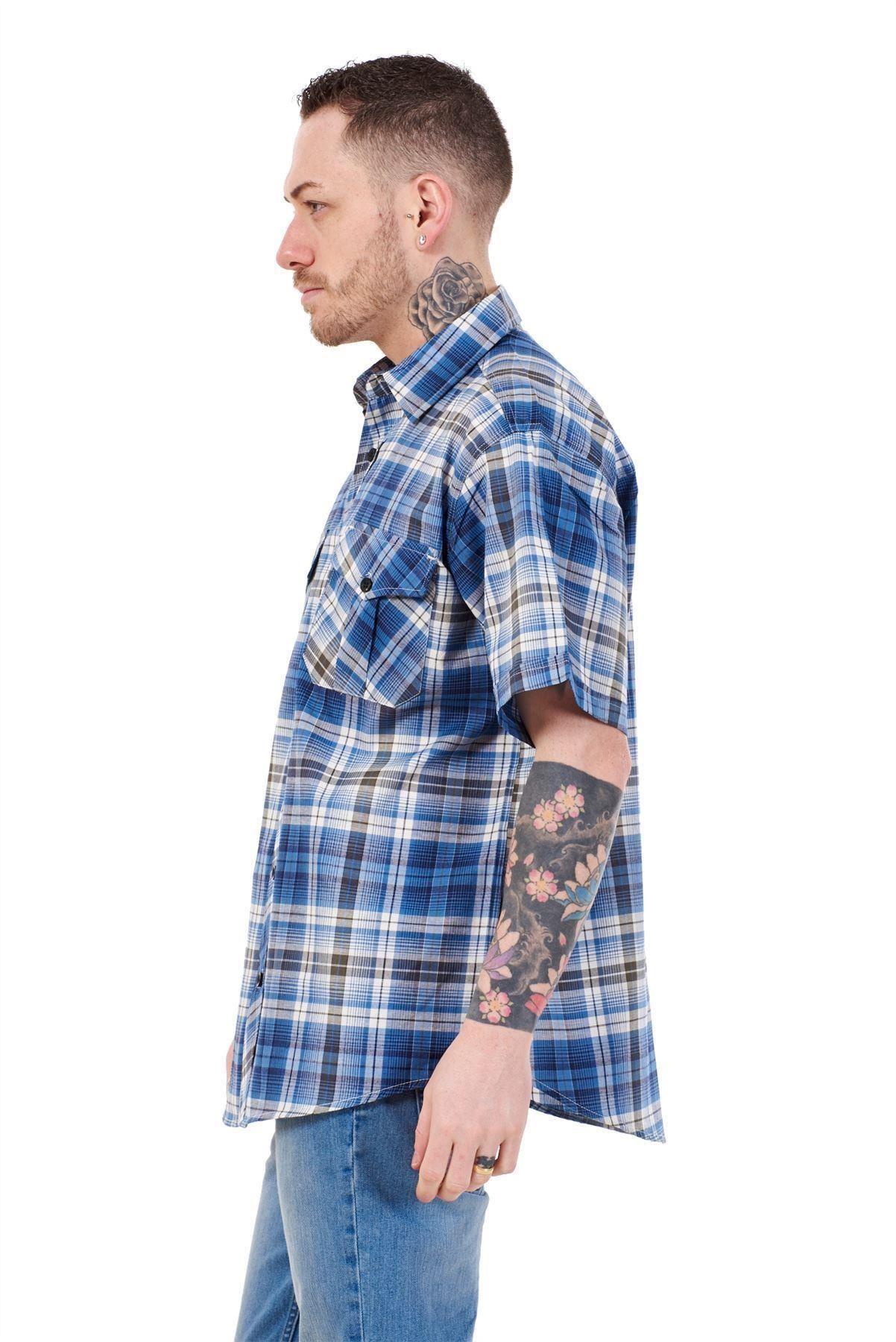Mens-Regular-Big-Size-Shirts-Checked-Cotton-Blend-Casual-Short-Sleeve-Blue-M-5XL thumbnail 9
