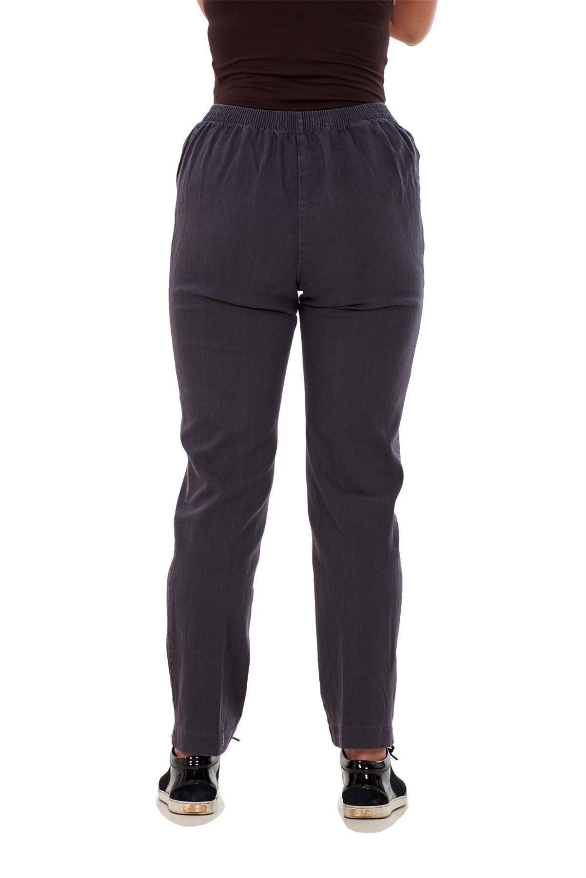 Ladies-Women-Trousers-Rayon-Cotton-Pockets-Elasticated-Stretch-Black-pants-8-24 thumbnail 9