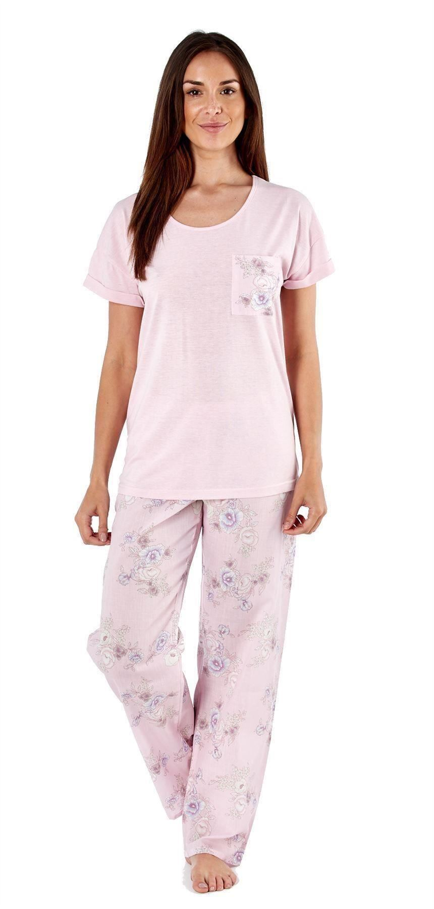 Mesdames-Eliza-Pyjamas-Imprime-Floral-Pantalon-en-Coton-Jersey-Top-Tisse-Lounge-Sleepwear