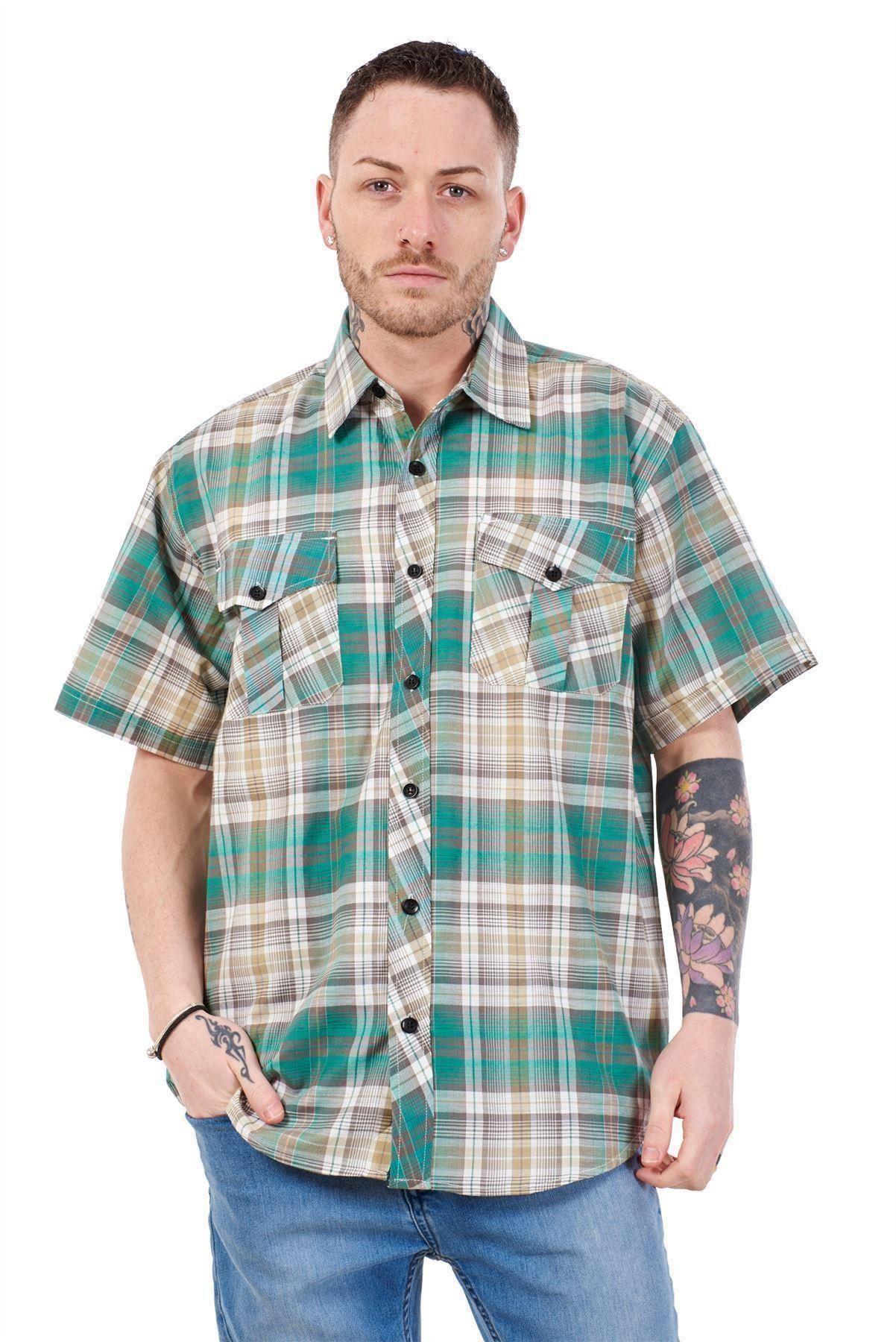 Mens-Regular-Big-Size-Shirts-Checked-Cotton-Blend-Casual-Short-Sleeve-Blue-M-5XL thumbnail 17