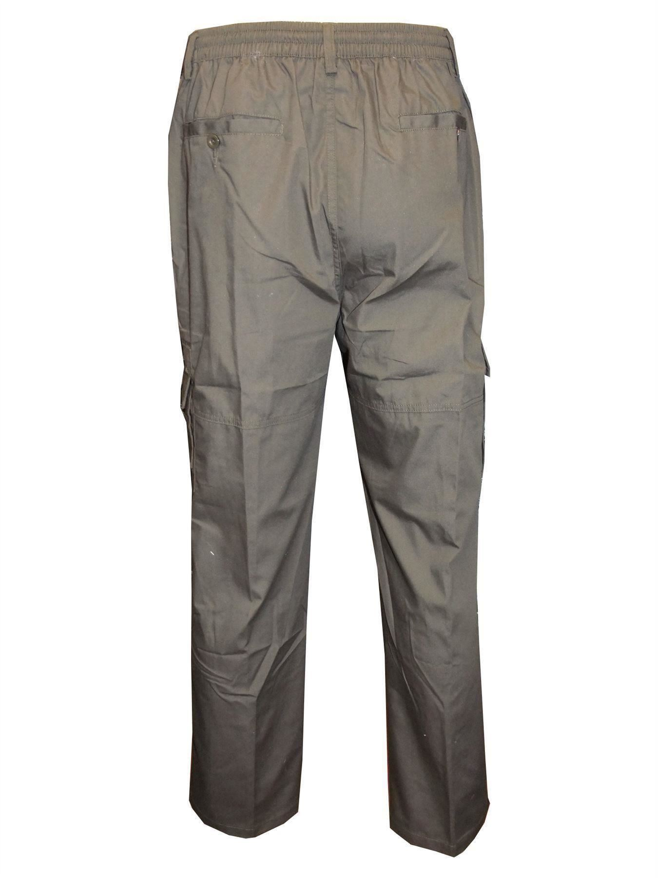 Men-Straight-Trousers-Cargo-Combat-Cotton-Elasticated-Zip-Fly-Casual-Pants-M-3XL thumbnail 10