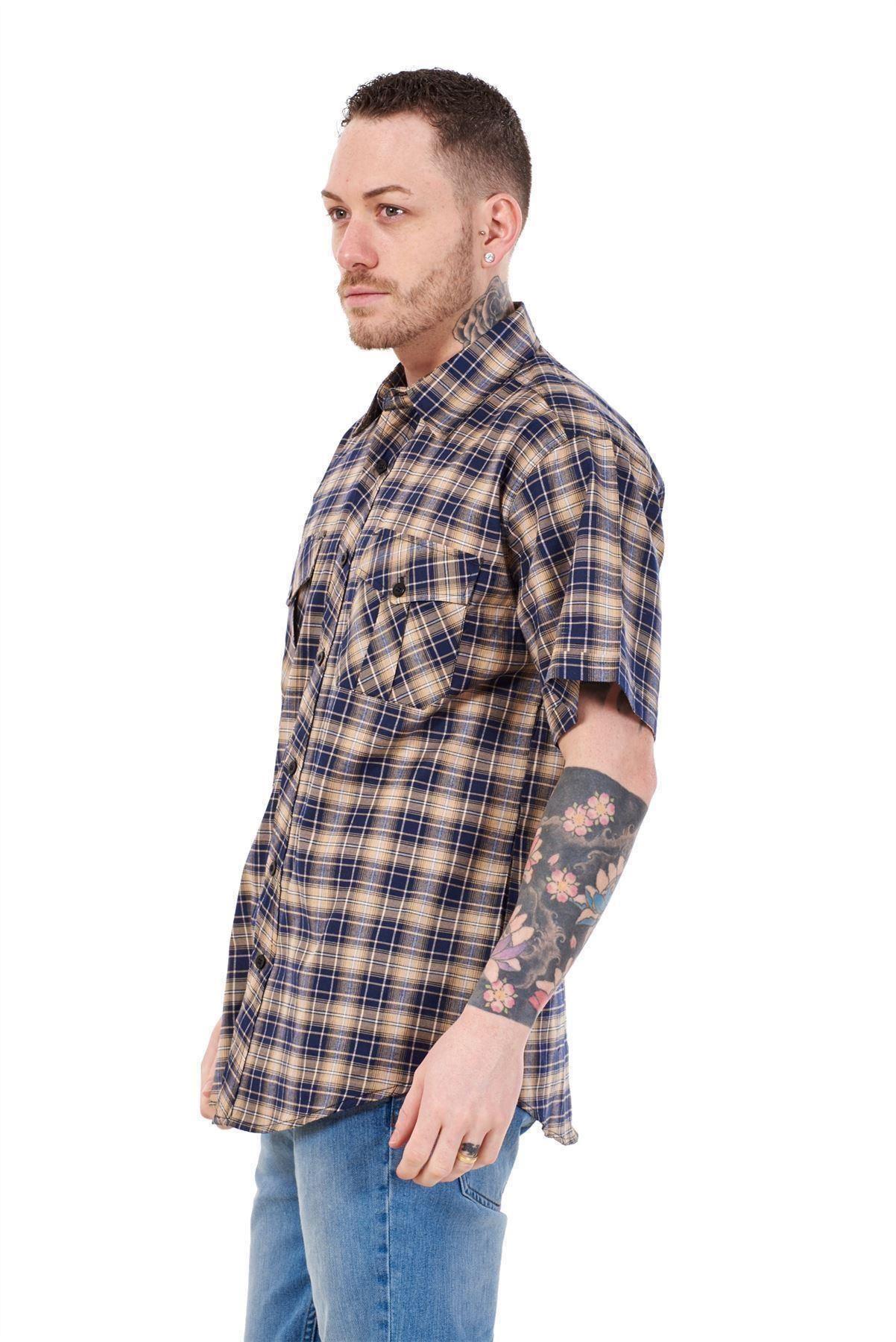 Mens-Regular-Big-Size-Shirts-Checked-Cotton-Blend-Casual-Short-Sleeve-Blue-M-5XL thumbnail 13