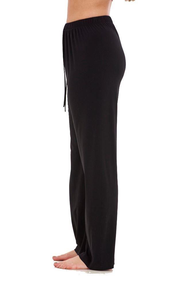 Ladies-Women-Trouser-Elasticated-wide-leg-High-waist-ITY-Regular-Pants-Black-Red thumbnail 7
