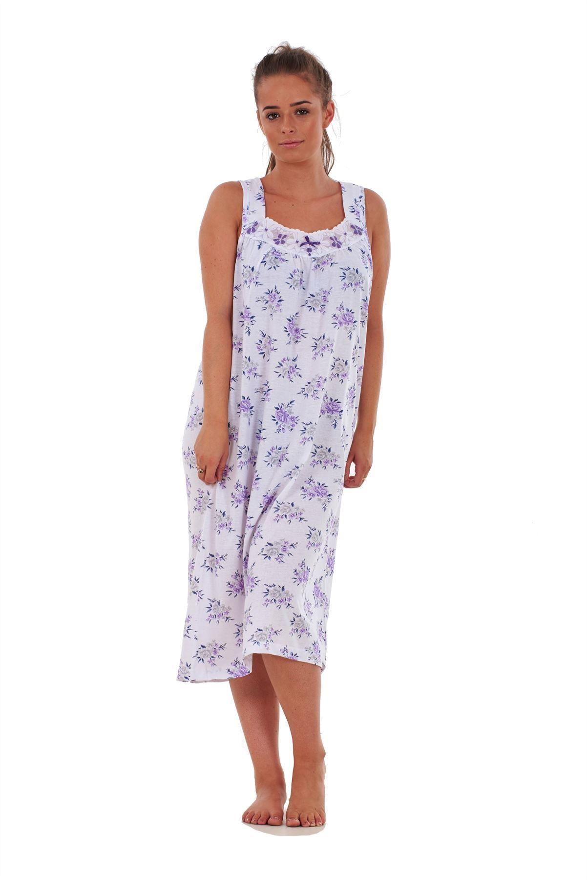 dece74ada1 Ladies Women Nightwear Rose Print 100% Cotton Sleeveless Long ...