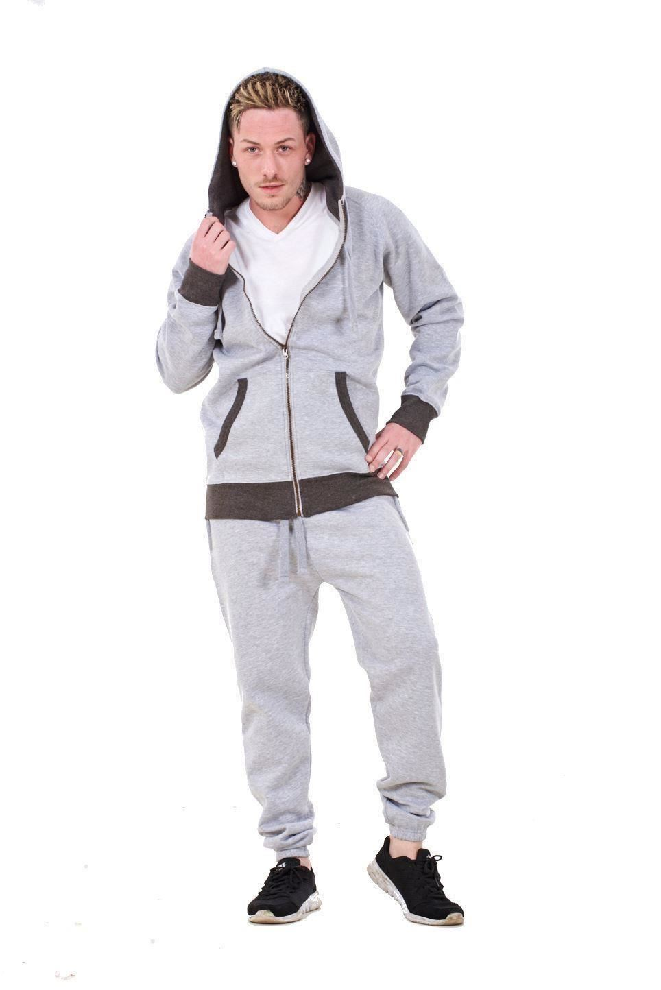 New-Mens-Tracksuit-Branded-Fleece-Hooded-Zipper-Cotton-Jogging-Bottoms-S-to-XXL thumbnail 8