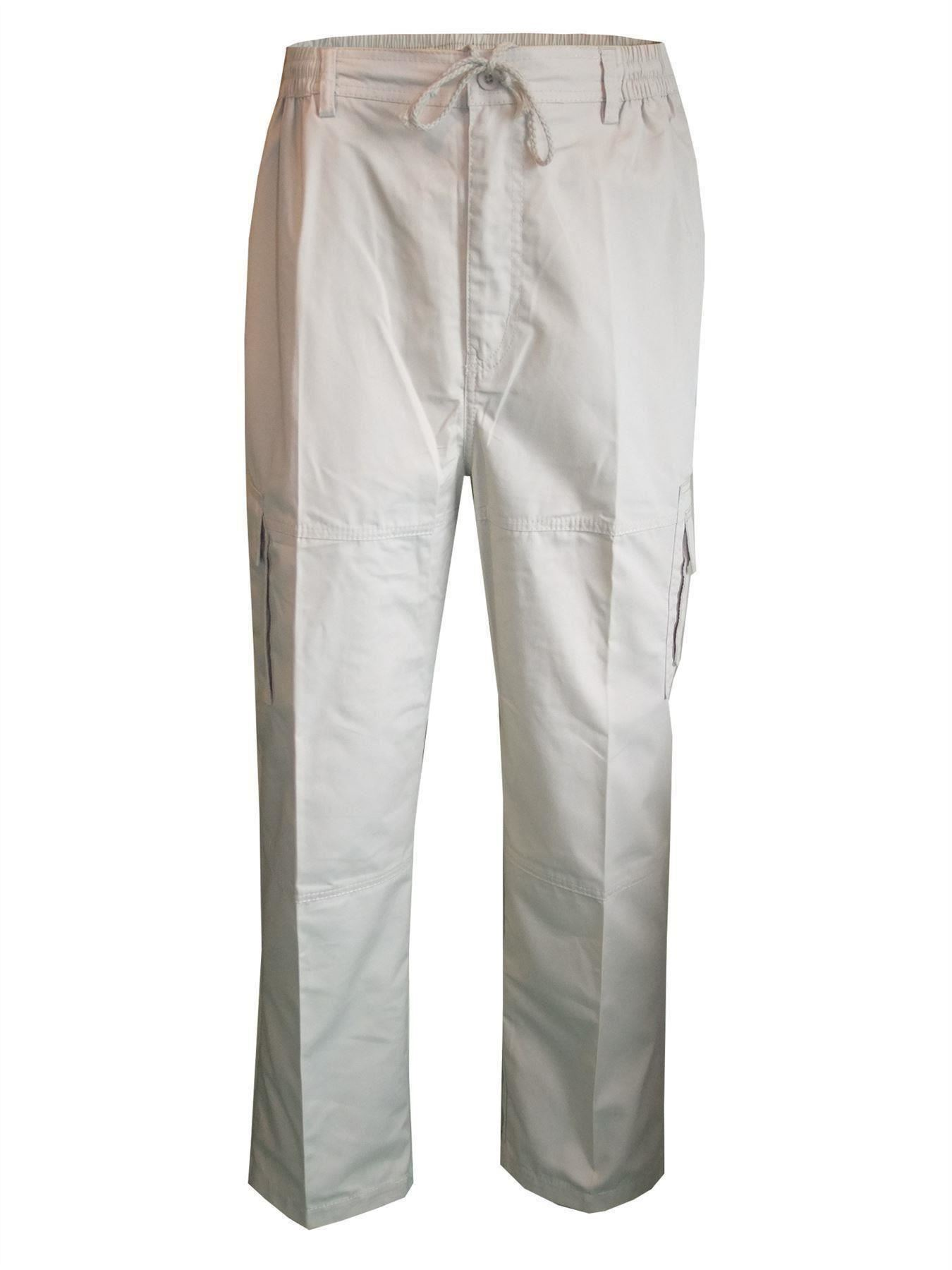 Men-Straight-Trousers-Cargo-Combat-Cotton-Elasticated-Zip-Fly-Casual-Pants-M-3XL thumbnail 15