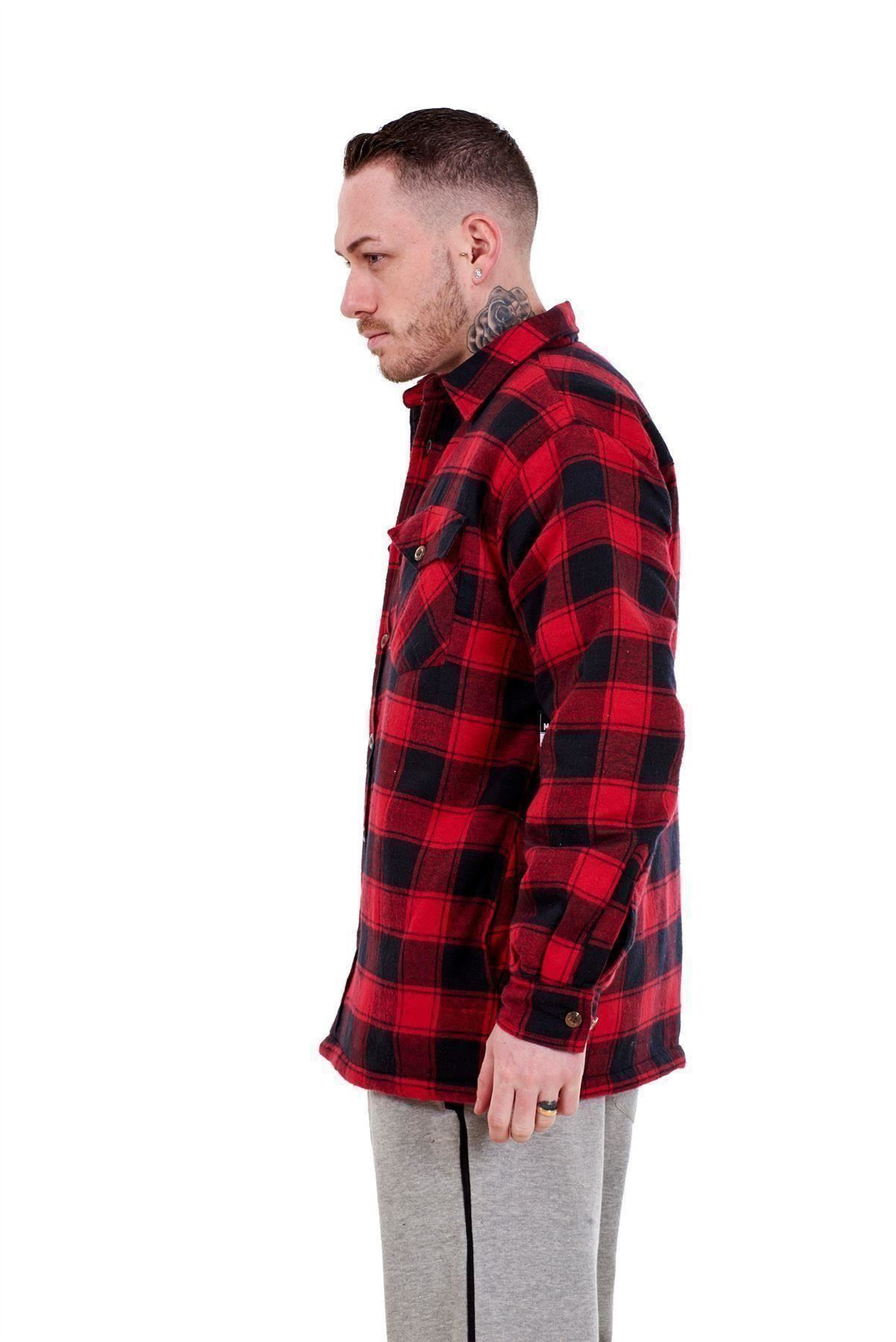 Flanella-Da-Uomo-Imbottito-Work-Shirt-Filato-Tinto-trapuntato-boscaiolo-Giacca-Regolare-amp-Big miniatura 16