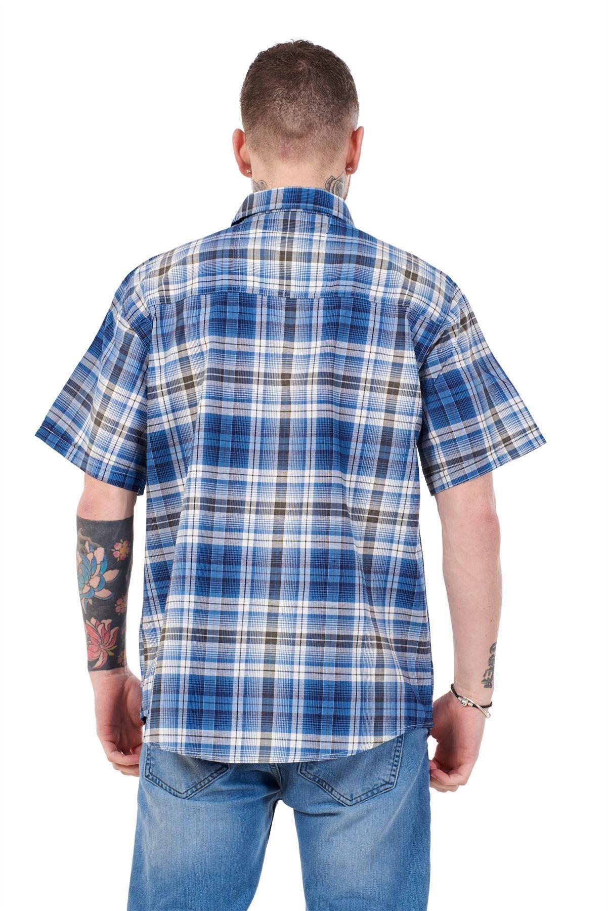 Mens-Regular-Big-Size-Shirts-Checked-Cotton-Blend-Casual-Short-Sleeve-Blue-M-5XL thumbnail 7