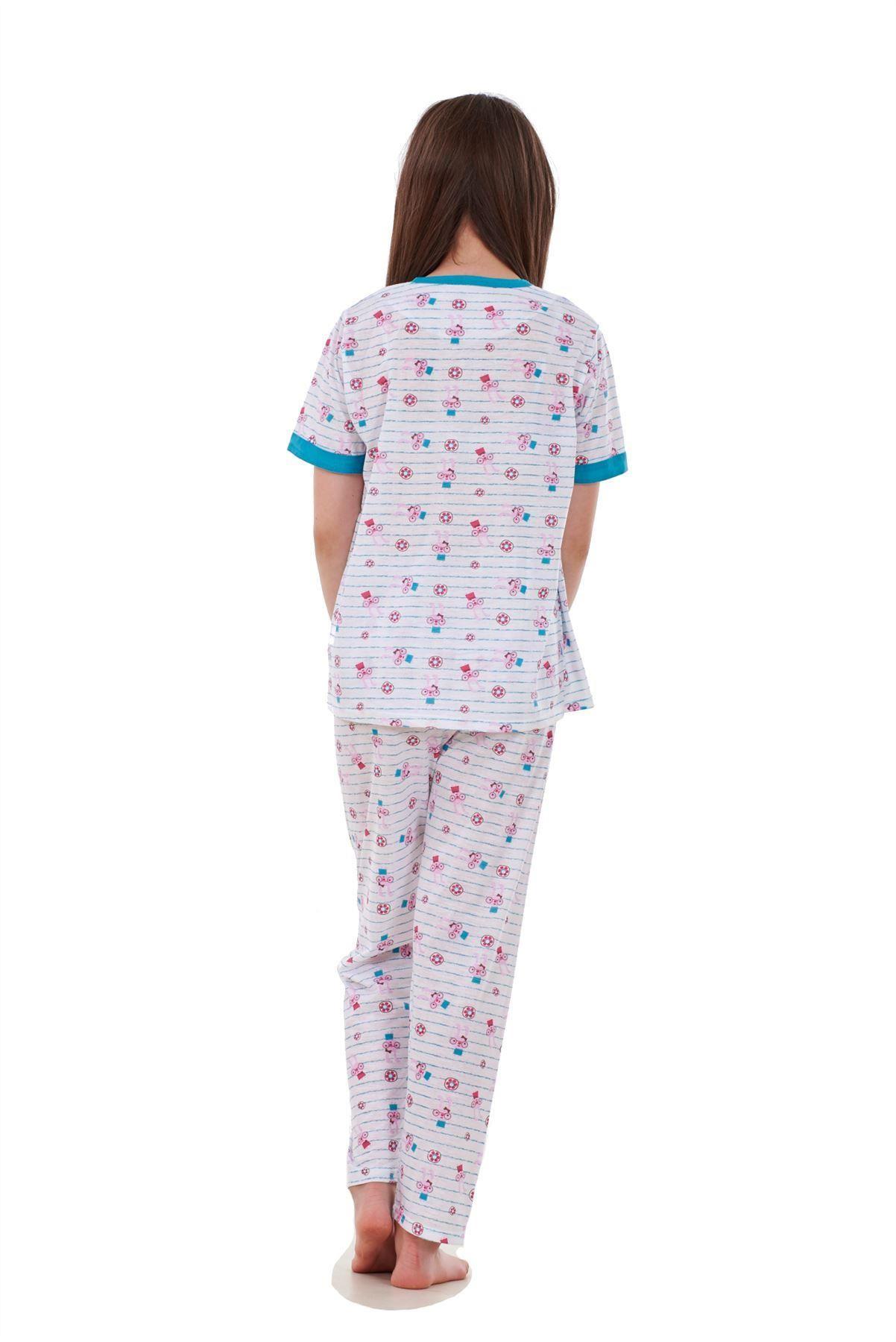 New Girls Kids Pyjamas Bunny Puppy Print Short Sleeve Soft Nightwear Year 4 to14