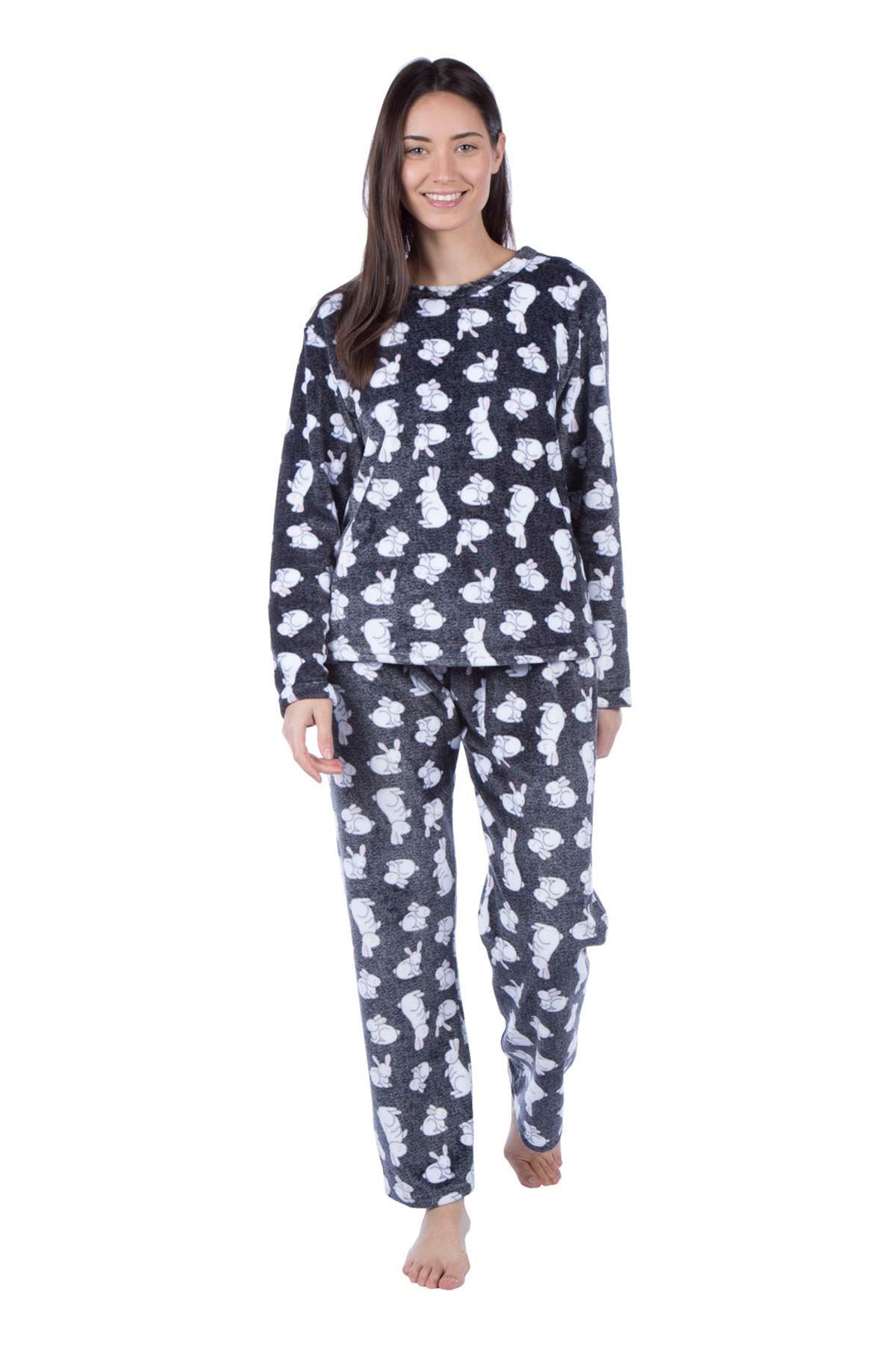 53879c0ce5 Ladies Flannel Fleece Pyjama Set Long Sleeve Ruby Rabit Crewneck ...
