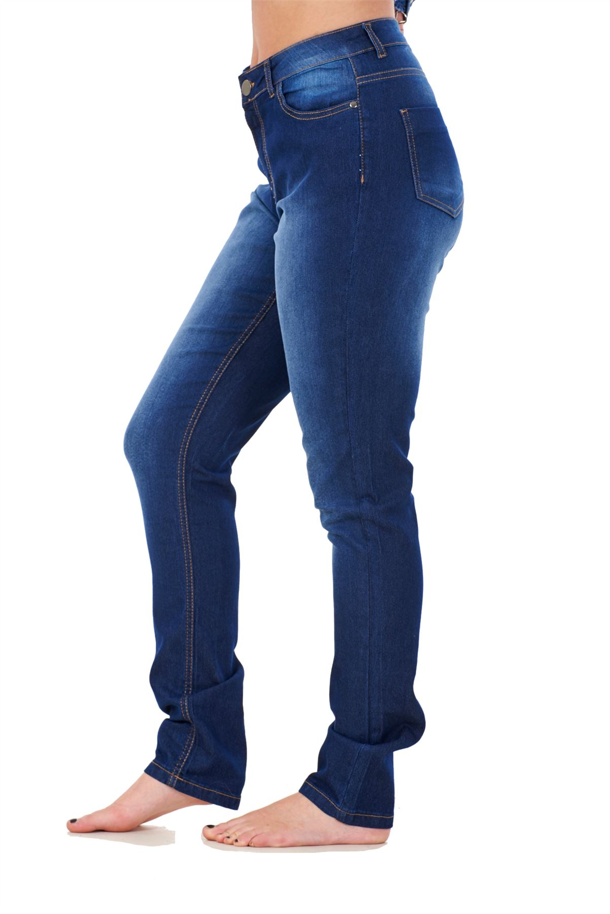 Ladies-Stretch-Jeans-Denim-cotton-Zip-fly-High-Waisted-Slim-Fit-Trousers-Pants thumbnail 14
