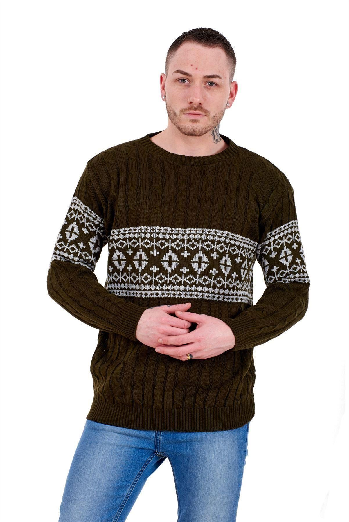 Mens-New-Cable-Knit-Jacquard-Long-Sleeve-Pullover-Jumper-Sweater-S-to-XL thumbnail 17