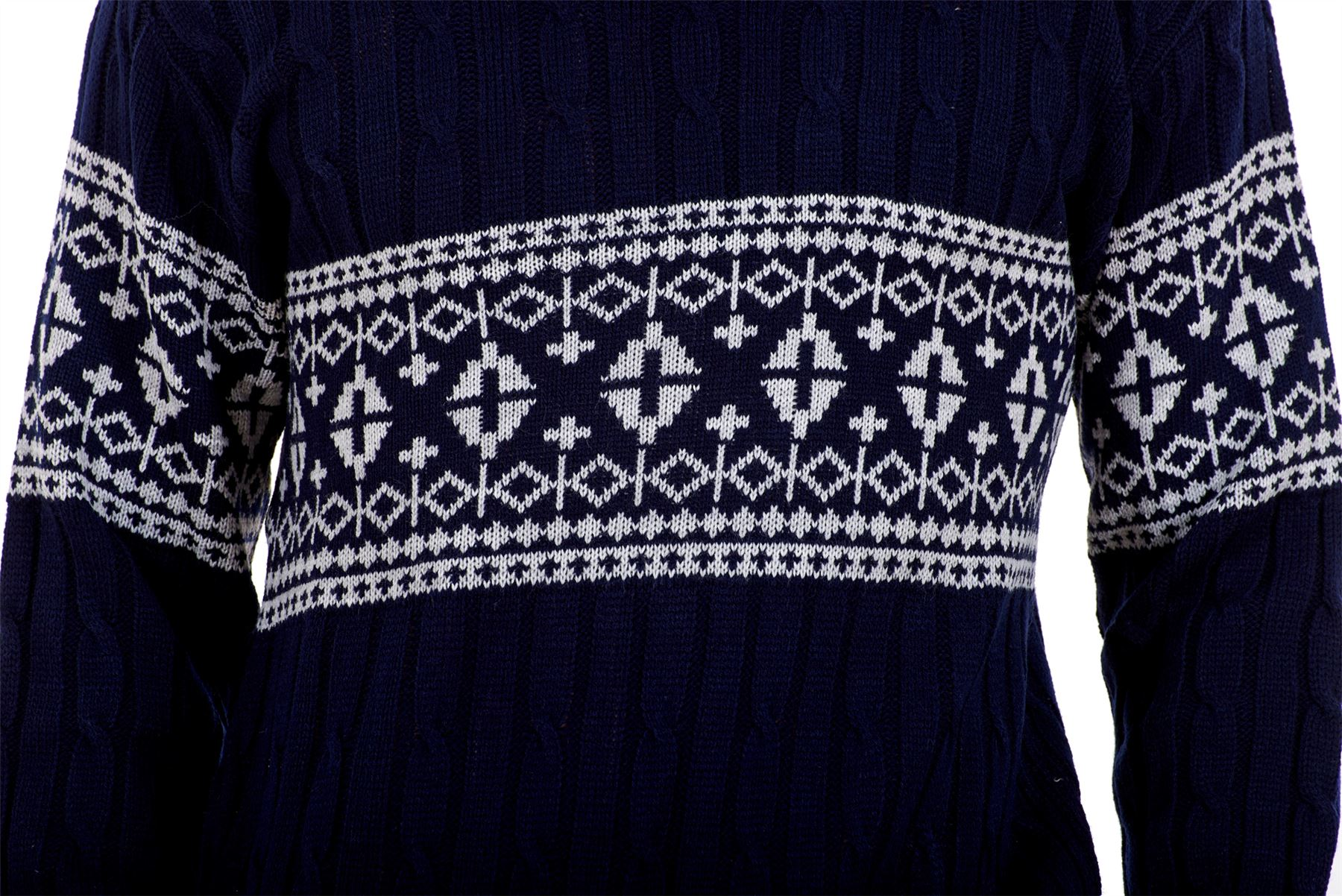 Mens-New-Cable-Knit-Jacquard-Long-Sleeve-Pullover-Jumper-Sweater-S-to-XL thumbnail 20