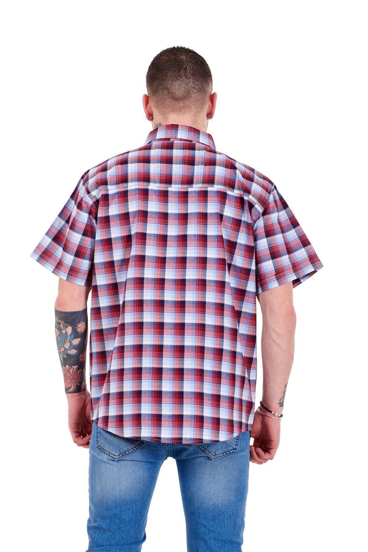Mens-Regular-Big-Size-Shirts-Checked-Cotton-Blend-Casual-Short-Sleeve-M-to-5XL thumbnail 27